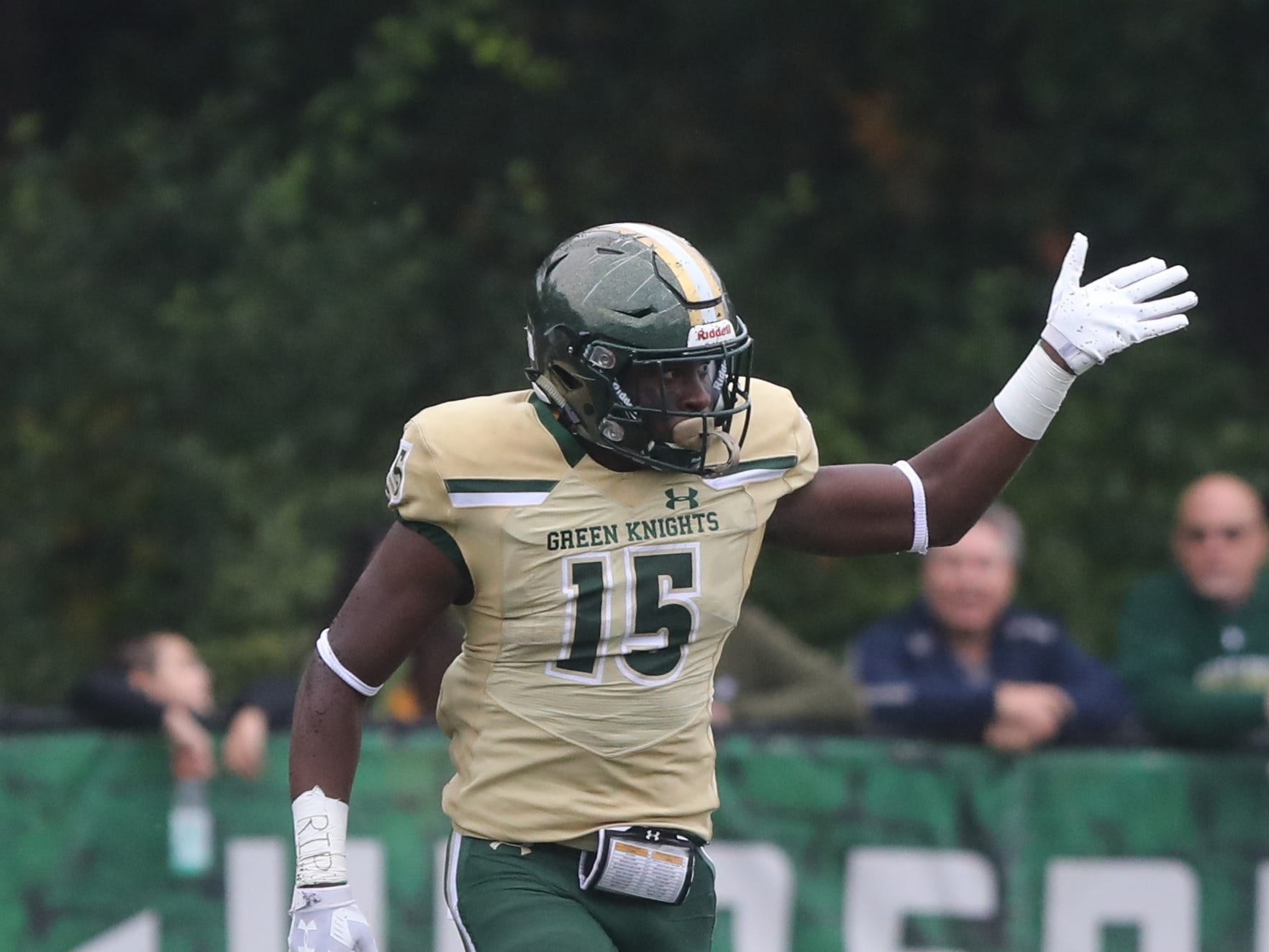 Audric Estime of St.Joseph after an 72 yard run to setup his team's field goal in the first half.