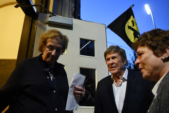 (Center) Bruce Morrow, a DJ Cwho goes by Cousin Brucie  enters School No. 6 in Cliffside Park for a Q&A during Cousin Brucie Day in Cliffside Park shown on Friday October 5, 2018.