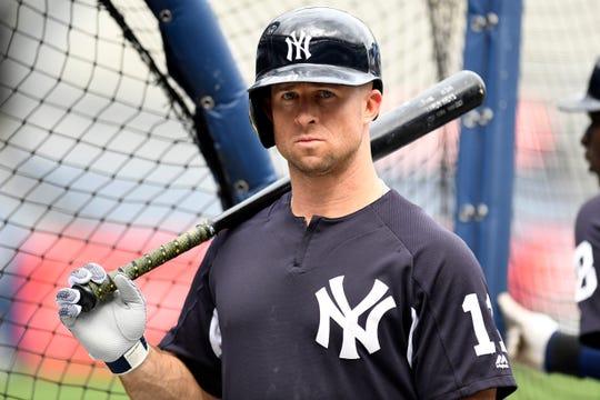 New York Yankees' Brett Gardner on the field for batting practice at Yankee Stadium