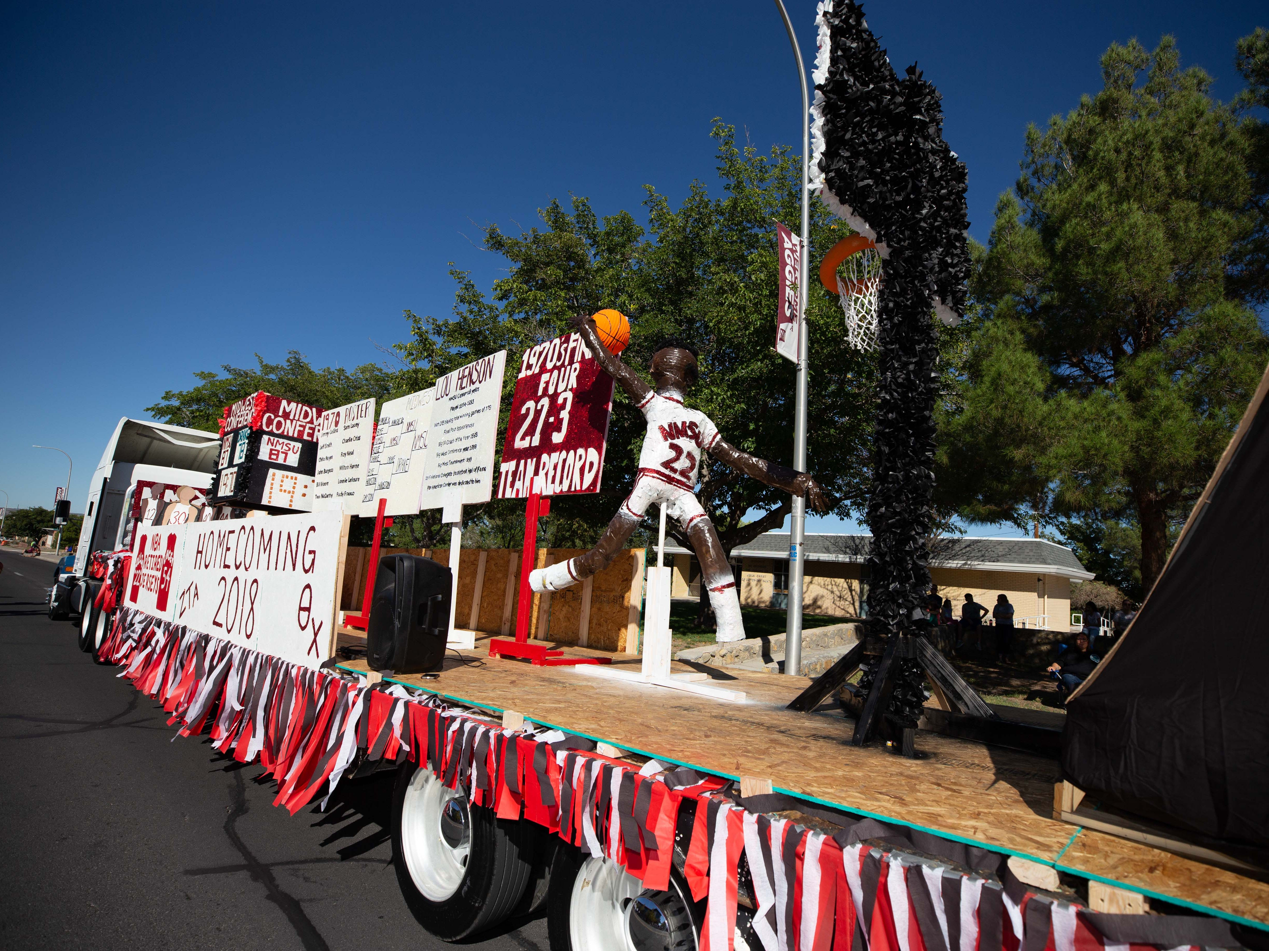 Zeta Tau Alpha and Theta Chi parade float at the NMSU Homecoming Parade on October 6, 2018.
