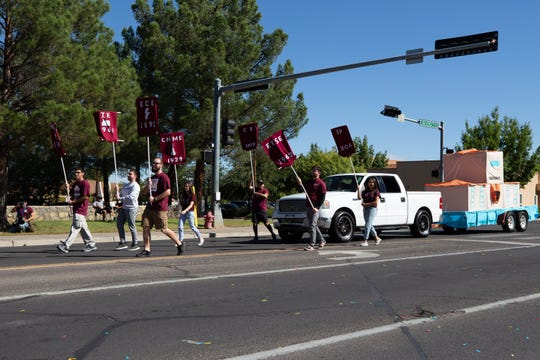 NMSU Engineering Student Council with a float depicting Goddard Hall at the NMSU Homecoming Parade on October 6, 2018.