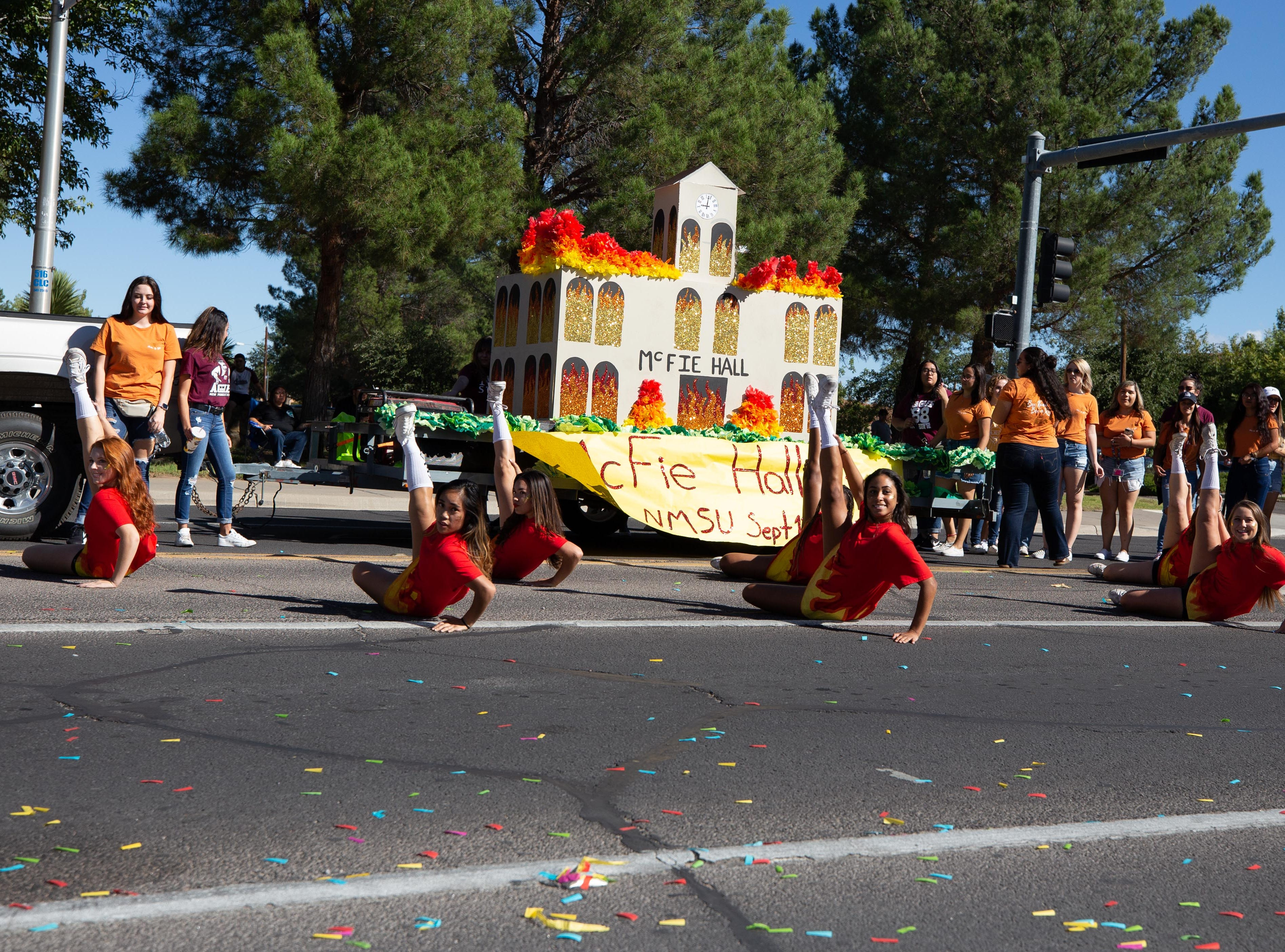 Alpha Xi Delta Sorority float at the NMSU Homecoming Parade on October 6, 2018.