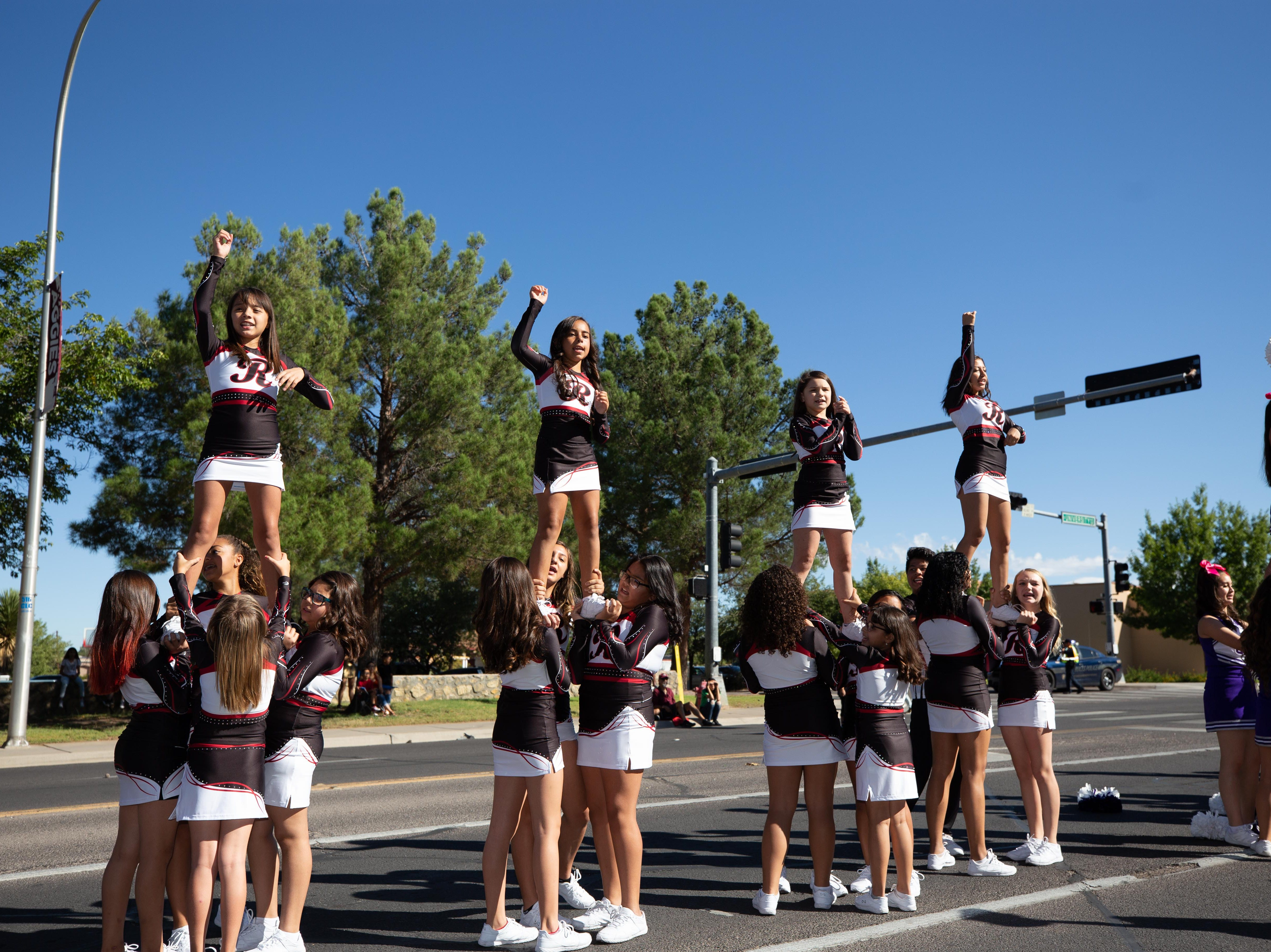 Various Middle School Cheer Teams at the NMSU Homecoming Parade on October 6, 2018.