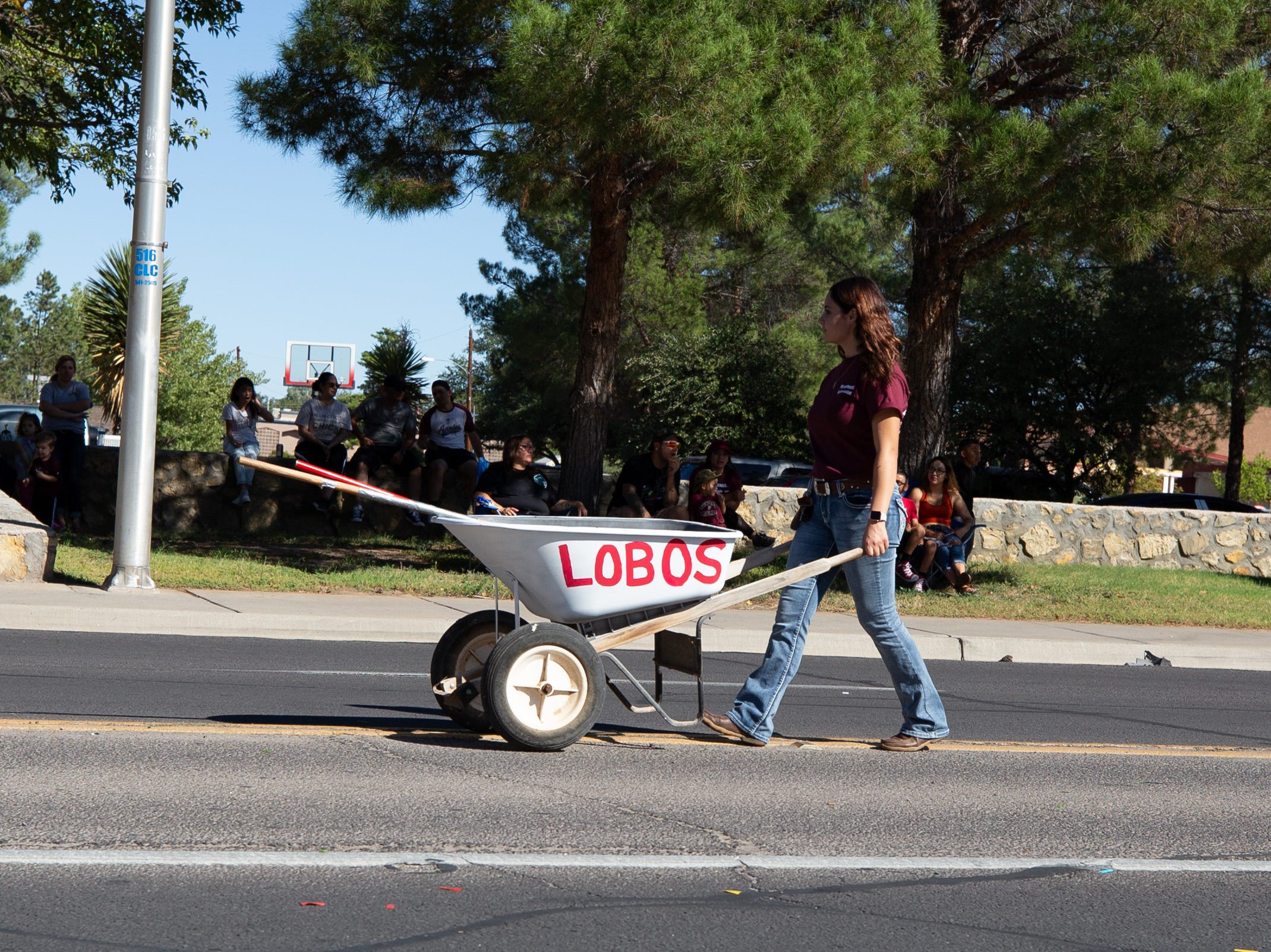 The official pooper scooper following the horses at the NMSU Homecoming Parade on October 6, 2018.