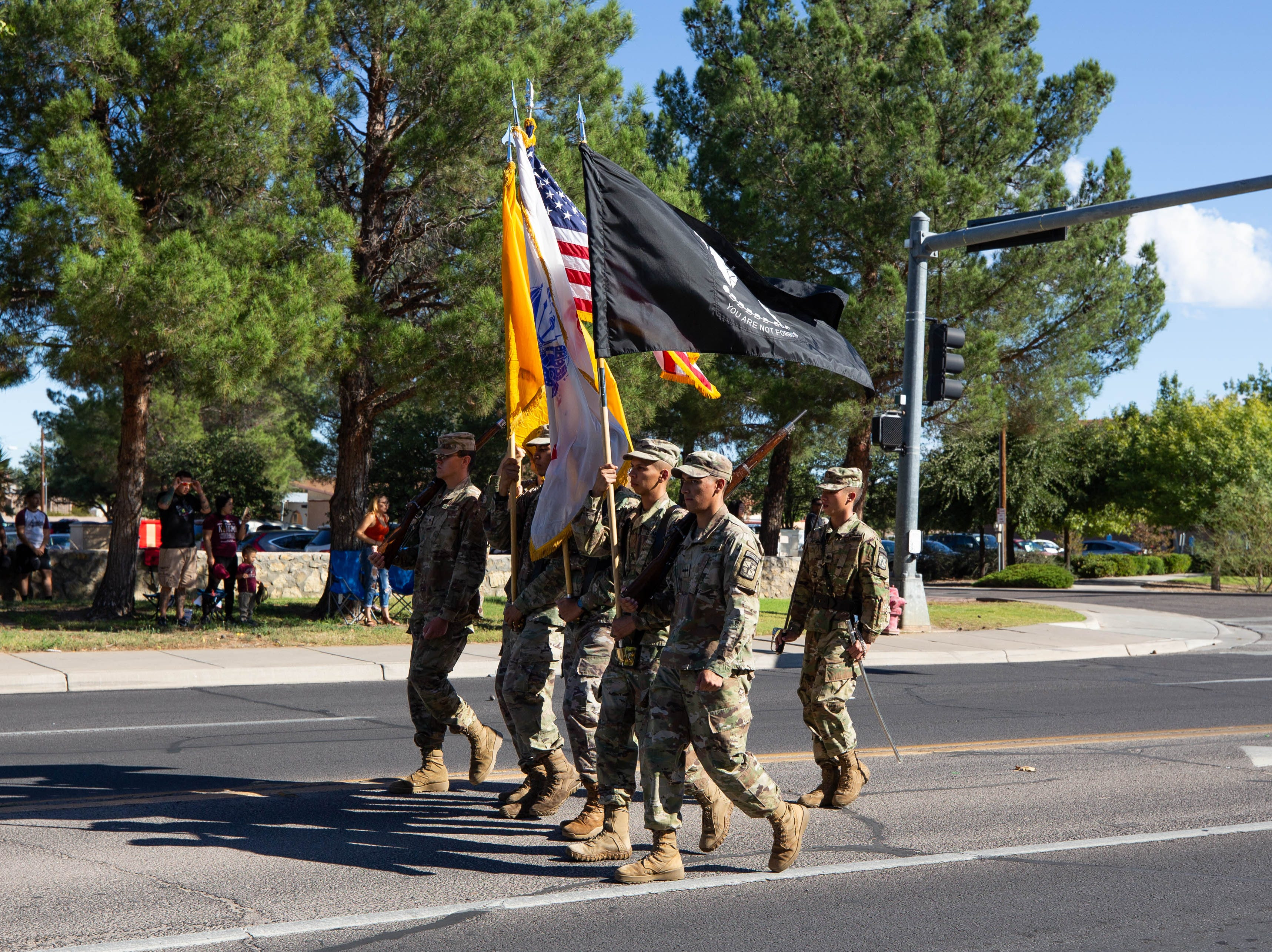 NMSU ROTC color guard leads the start of the NMSU Homecoming Parade on October 6, 2018.