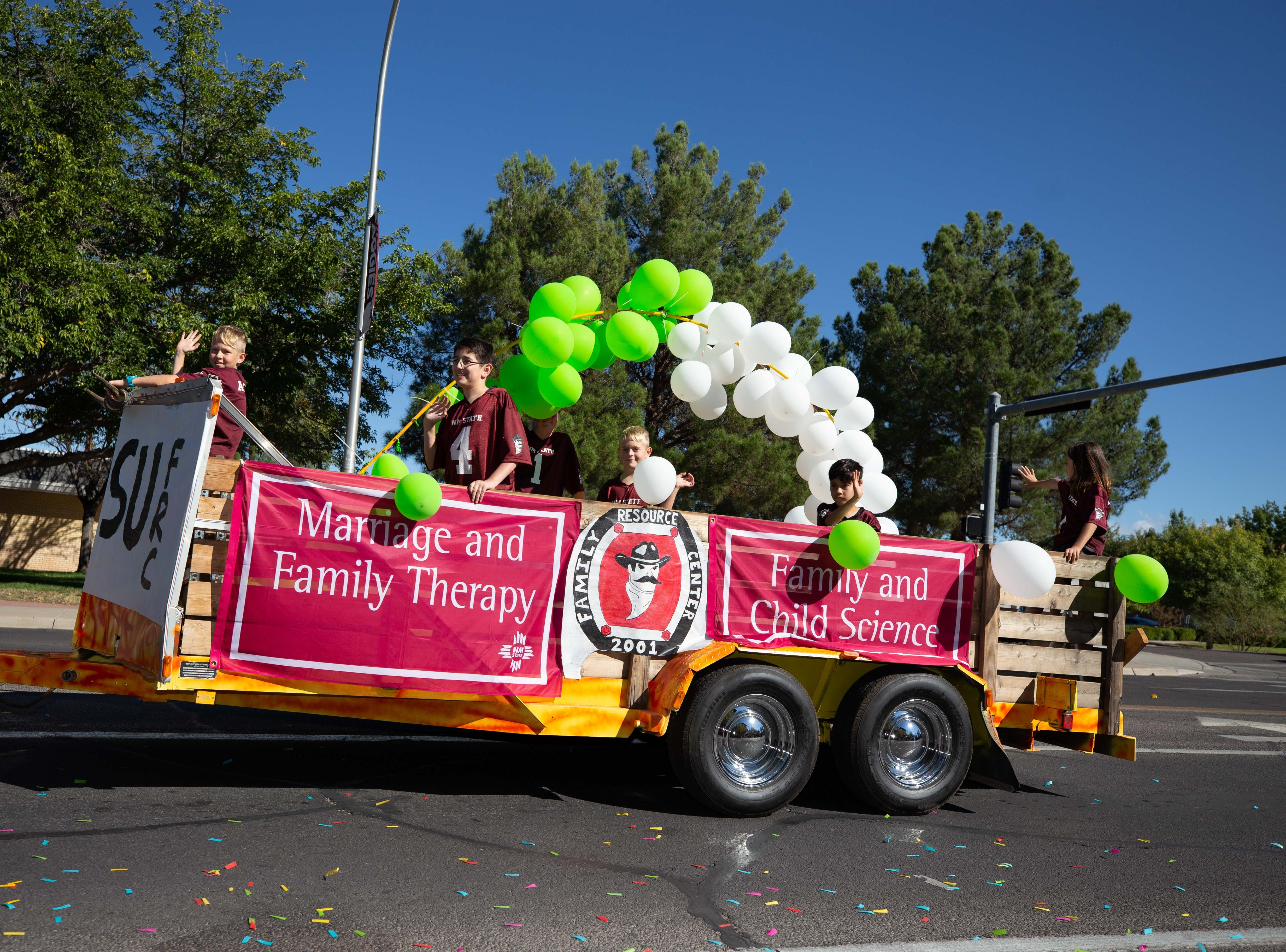 Family Resource Center parade entry at the NMSU Homecoming Parade on October 6, 2018.
