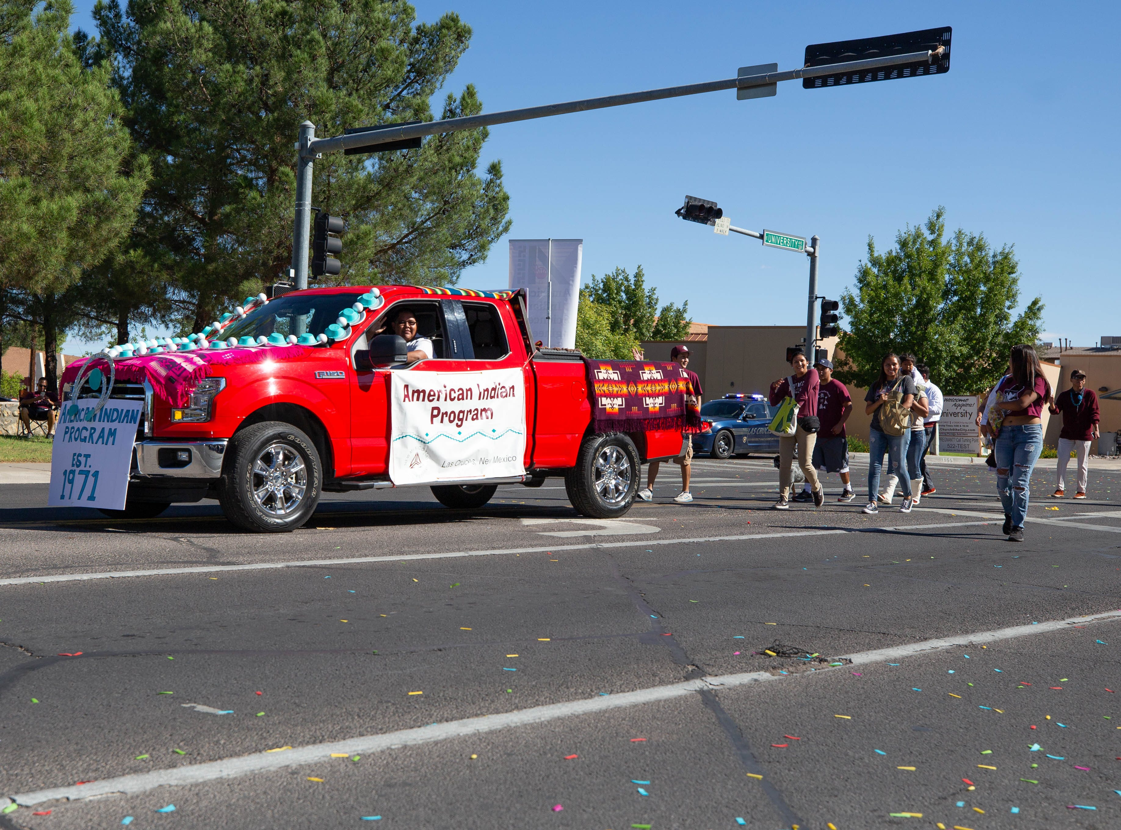 The American Indian program float at the NMSU Homecoming Parade on October 6, 2018.