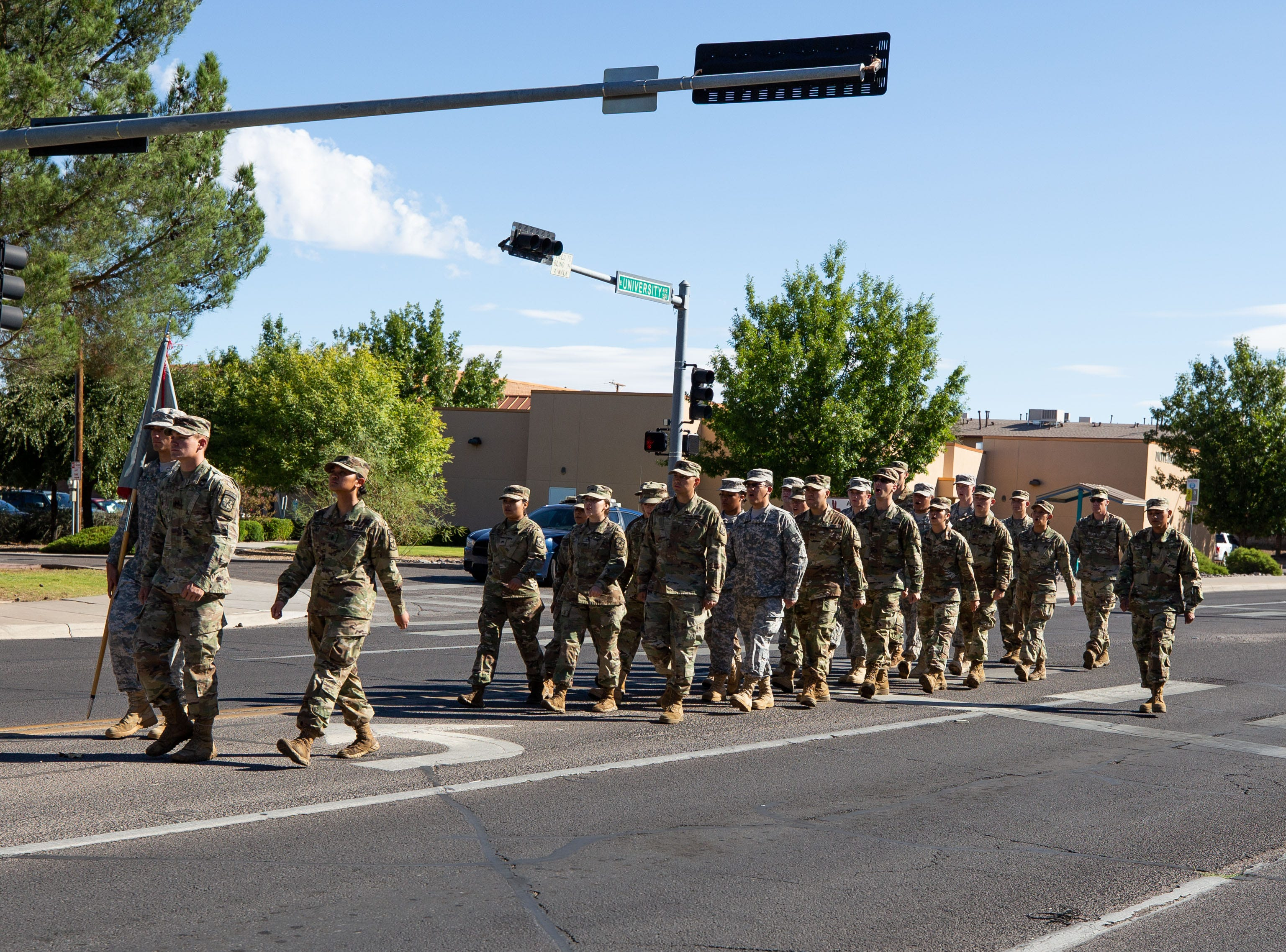NMSU ROTC members march during the NMSU Homecoming Parade on October 6, 2018.