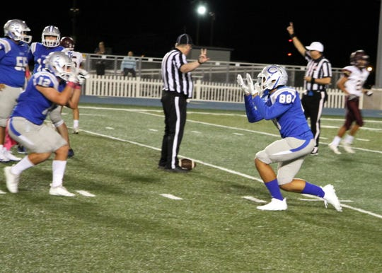 Xavier Ingram (88) celebrates a sack with Kyle Daniell (12) during Friday's game against Gadsden.