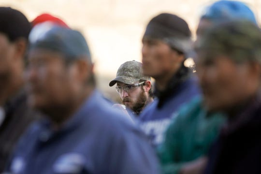PESCO employees listen to a speech by New Mexico gubernatorial candidate U.S. Rep. Steve Pearce Friday in Farmington.