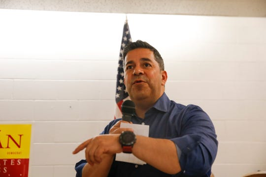 U.S. Rep. Ben Ray Lujan speaks during a Democratic campaign rally Friday at Chef Bernie's in Farmington.