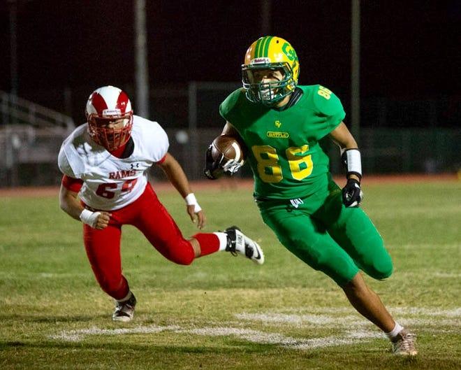 Andres Medina of Coachella Valley gains yardage against Desert Mirage in high school football Friday, Oct. 5, 2018.