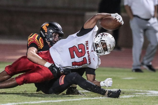 Palm Springs' Kelton Johnson, shown in a game Oct. 5, 2018 against Palm Desert, rushed for 102 yards and a TD on Friday night against Shadow Hills.