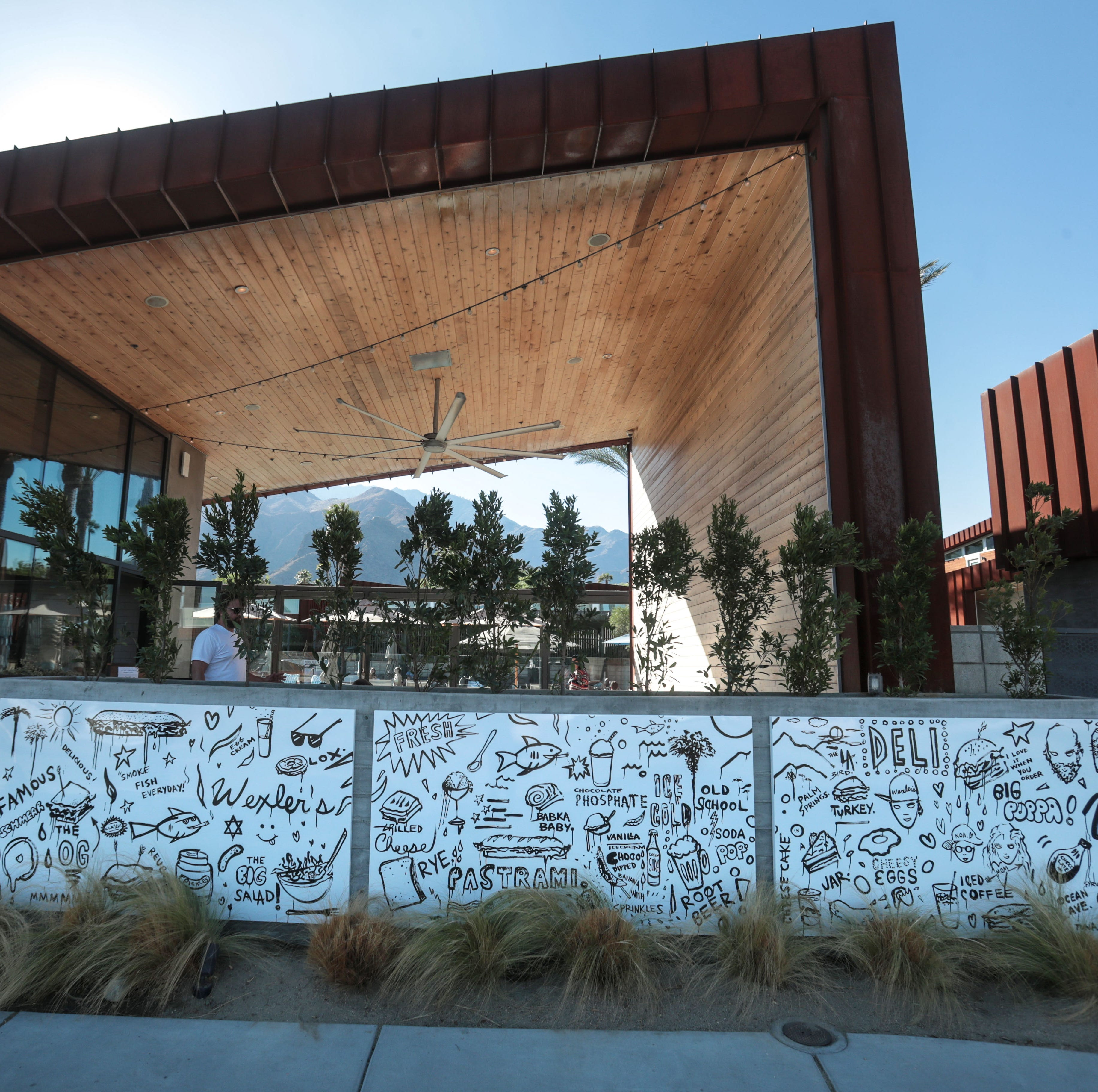 Here's the first look at Gregory Siff's new mural at Wexler's Deli in Palm Springs
