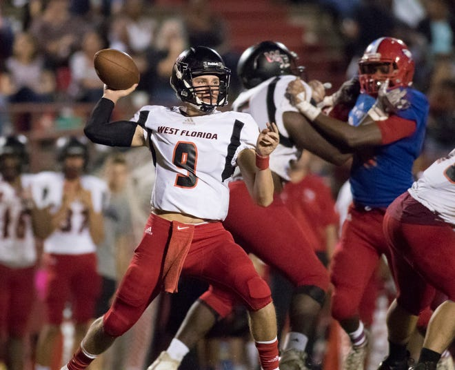 Quarterback Trevor Jordan (9) passes during the West Florida vs Pine Forest football game at Pine Forest High School in Pensacola on Friday, October 5, 2018.