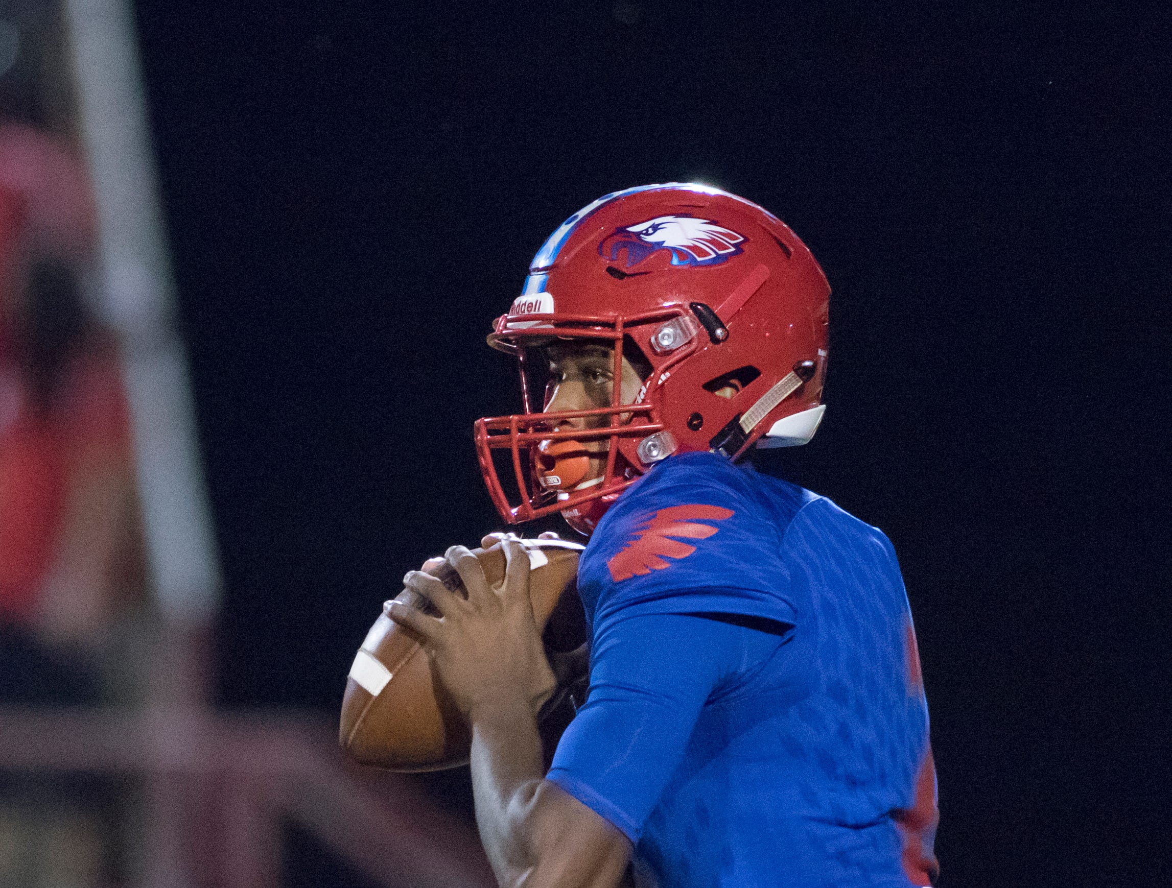 Quarterback Ladarius Clardy (2) looks for an open receiver during the West Florida vs Pine Forest football game at Pine Forest High School in Pensacola on Friday, October 5, 2018.