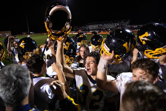 Littlestown players break it out in celebration after defeating Hanover in a football game, Friday, Oct. 5, 2018, at the Sheppard-Meyers field in Hanover. The Littlestown Bolts defeated the Hanover Nighthawks 42-3.