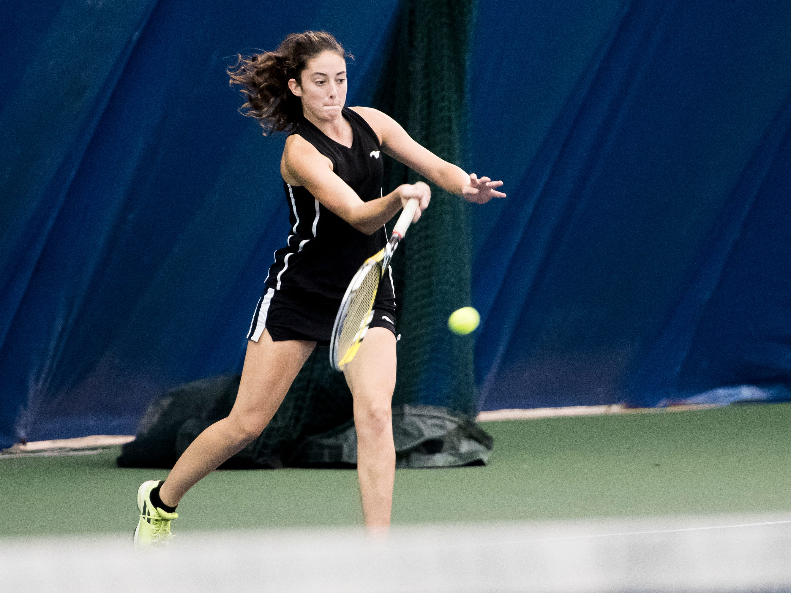 South Western's Michaela Sentz returns the ball to New Oxford's Kamdyn Balko during the championship match in the YAIAA 3A singles tournament at Wisehaven Tennis Center in York on October 6, 2018. Sentz won 6-7 (7-9), 6-0, 6-3.