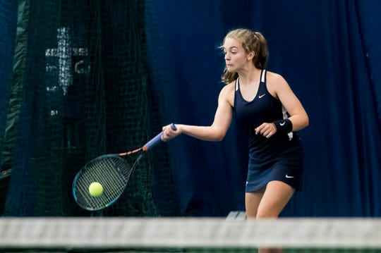 Dallastown's Meghan Salaga returns the ball to Susquehannock's Julianne Cassady during a third-place match in the YAIAA 3A singles tournament at Wisehaven Tennis Center in York on October 6, 2018.