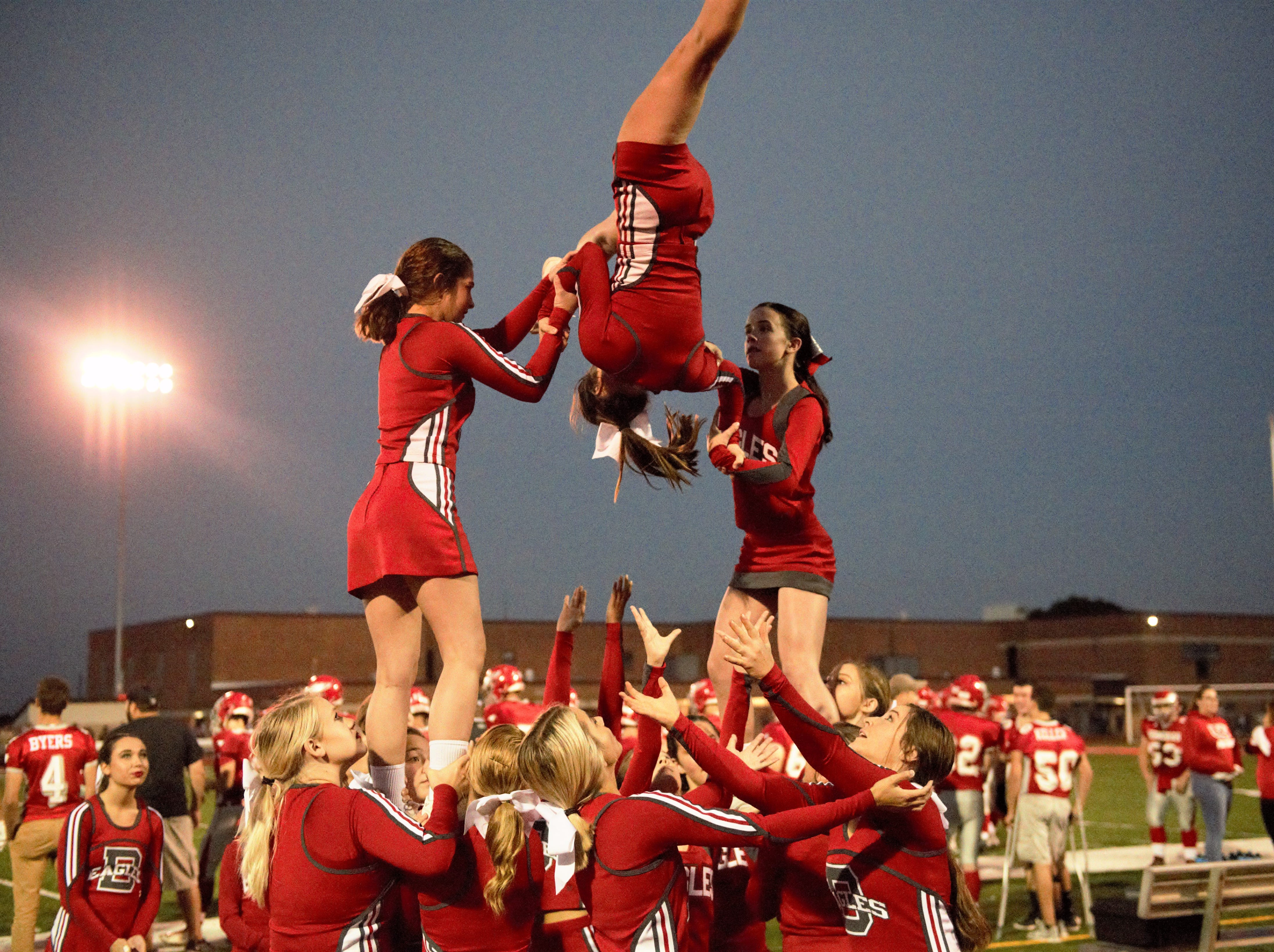 Bermudian Springs cheer leaders at the game against Delone Catholic on Oct. 5.