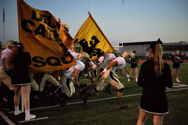 Delone Catholic football field entering the field for their game at Bermudian Springs on Oct. 5.
