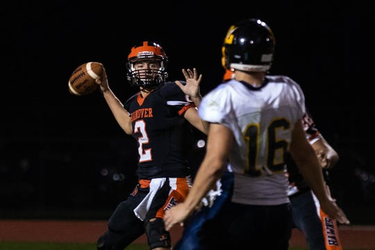 Hanover's Jeff Jacoby (2) looks to pass during a football game between Hanover and Littlestown, Friday, Oct. 5, 2018, at the Sheppard-Meyers field in Hanover.