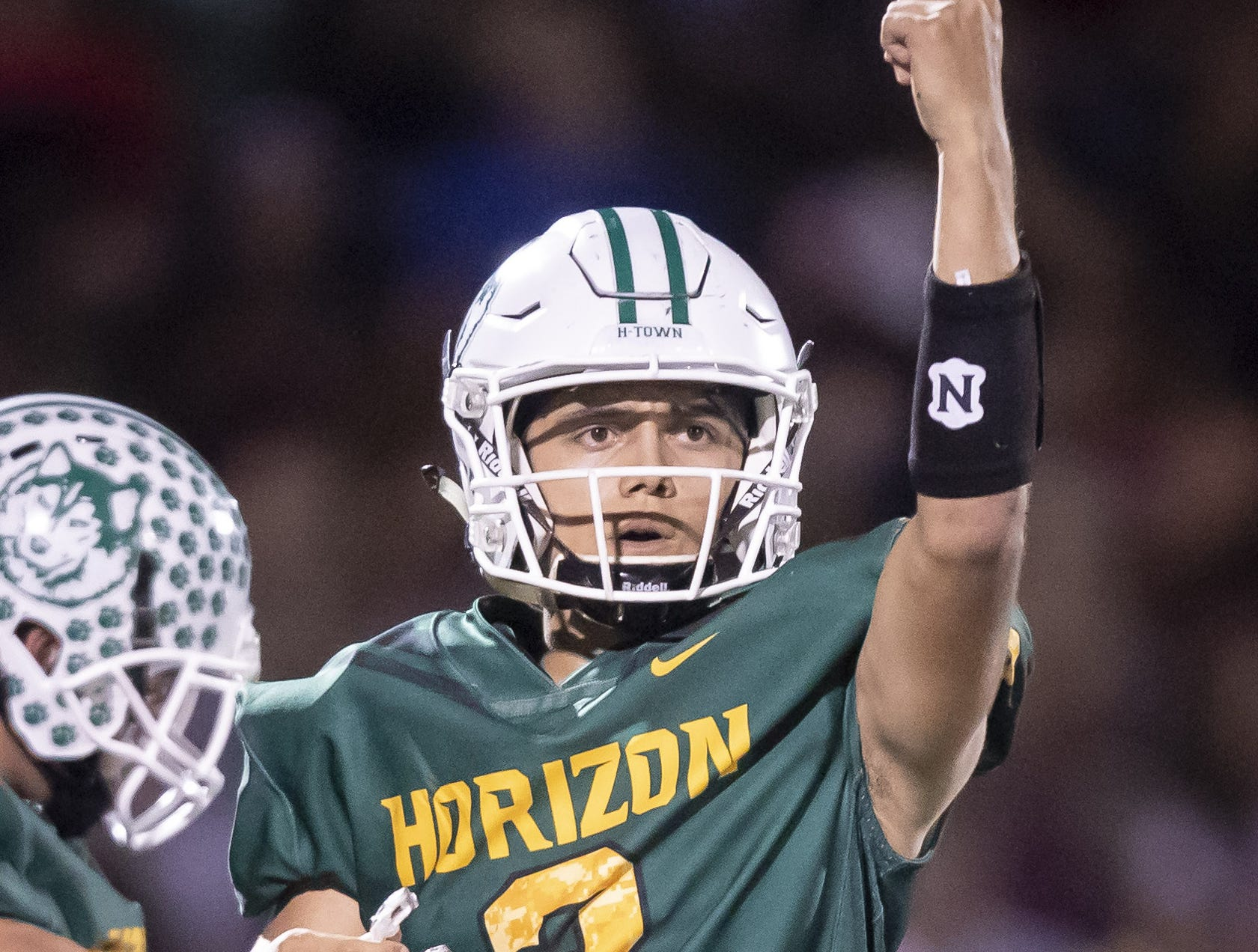 Senior quarterback Isaac Enriquez (3) of the Horizon Huskies motions during the game against the Notre Dame Prep Saints at Horizon High School on Friday, October 5, 2018 in Scottsdale, Arizona. #azhsfb