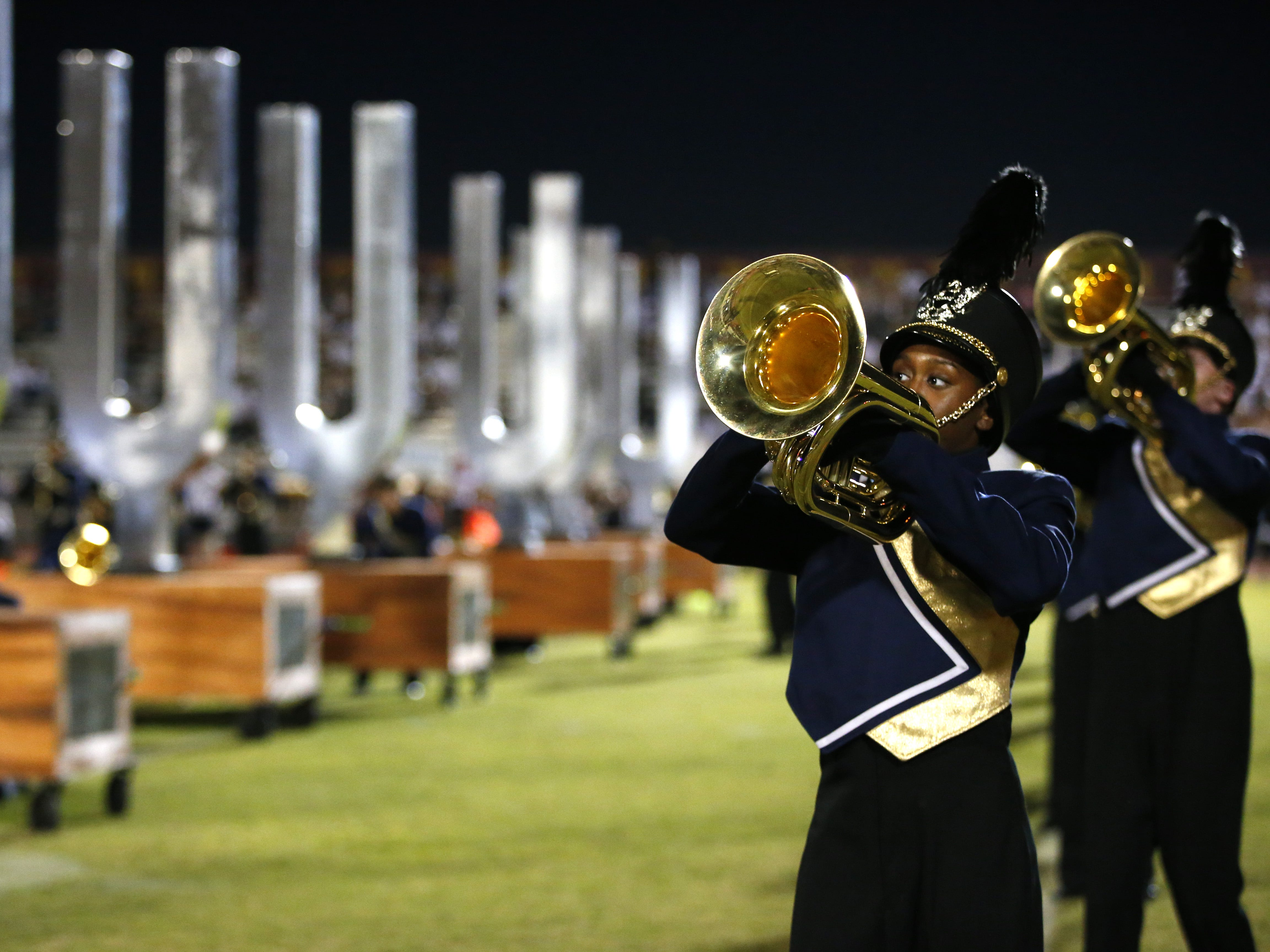 Desert Vista marching band performs before a high school football game at Mountain Pointe in Phoenix on October 5, 2018. #azhsfb