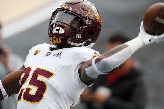 Arizona State running back Trelon Smith warms up before an NCAA college football game against Colorado Saturday, Oct. 6, 2018, in Boulder, Colo. (AP Photo/David Zalubowski)