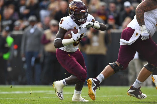 Oct 6, 2018; Boulder, CO, USA; Arizona State Sun Devils running back Eno Benjamin (3) carries the ball in for a touchdown in the second quarter against the Colorado Buffaloes at Folsom Field. Mandatory Credit: Ron Chenoy-USA TODAY Sports