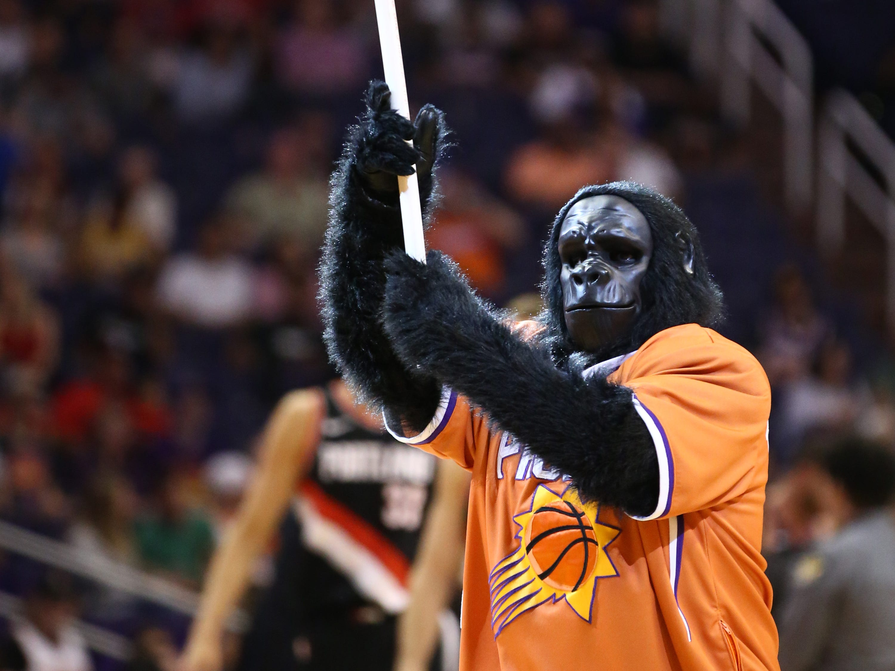 Phoenix Suns Gorilla works the crowd against the Portland Trail Blazers during a preseason game at Talking Stick Resort Arena on Oct. 5, 2018, in Phoenix, Ariz.