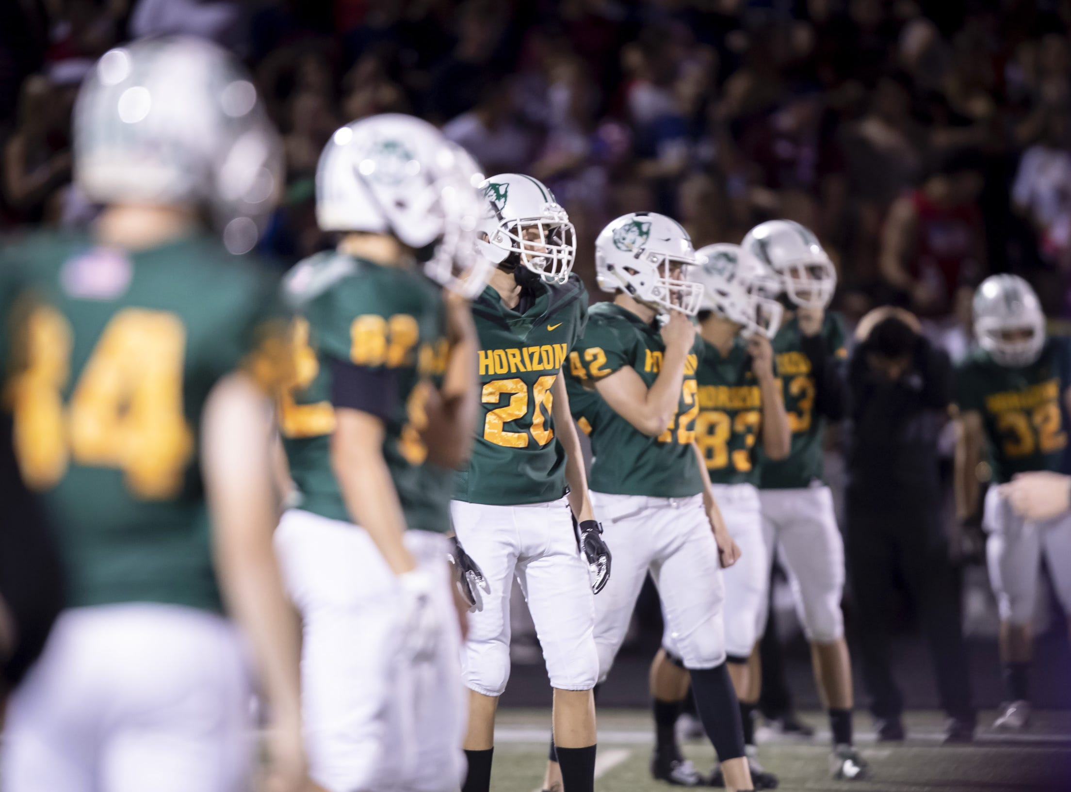 The Horizon Huskies line up for a kickoff against the Notre Dame Prep Saints at Horizon High School on Friday, October 5, 2018 in Scottsdale, Arizona. #azhsfb