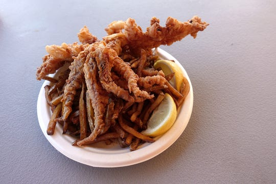 Fried calamari and fries from Piggly's Seafood at the 2018 Arizona State Fair.