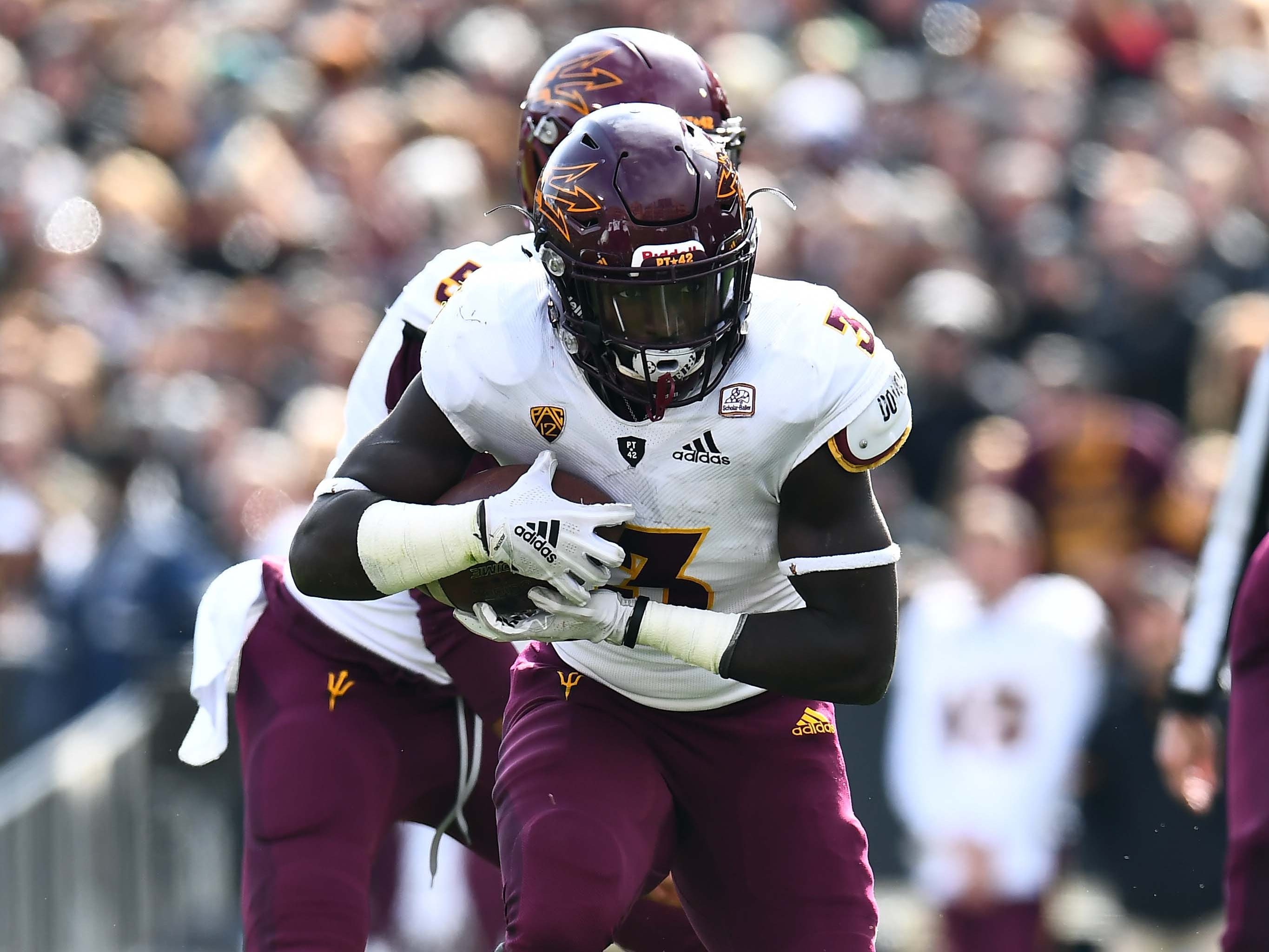 Oct 6, 2018; Boulder, CO, USA; Arizona State Sun Devils running back Eno Benjamin (3) carries the ball in the second quarter against the Colorado Buffaloes at Folsom Field. Mandatory Credit: Ron Chenoy-USA TODAY Sports