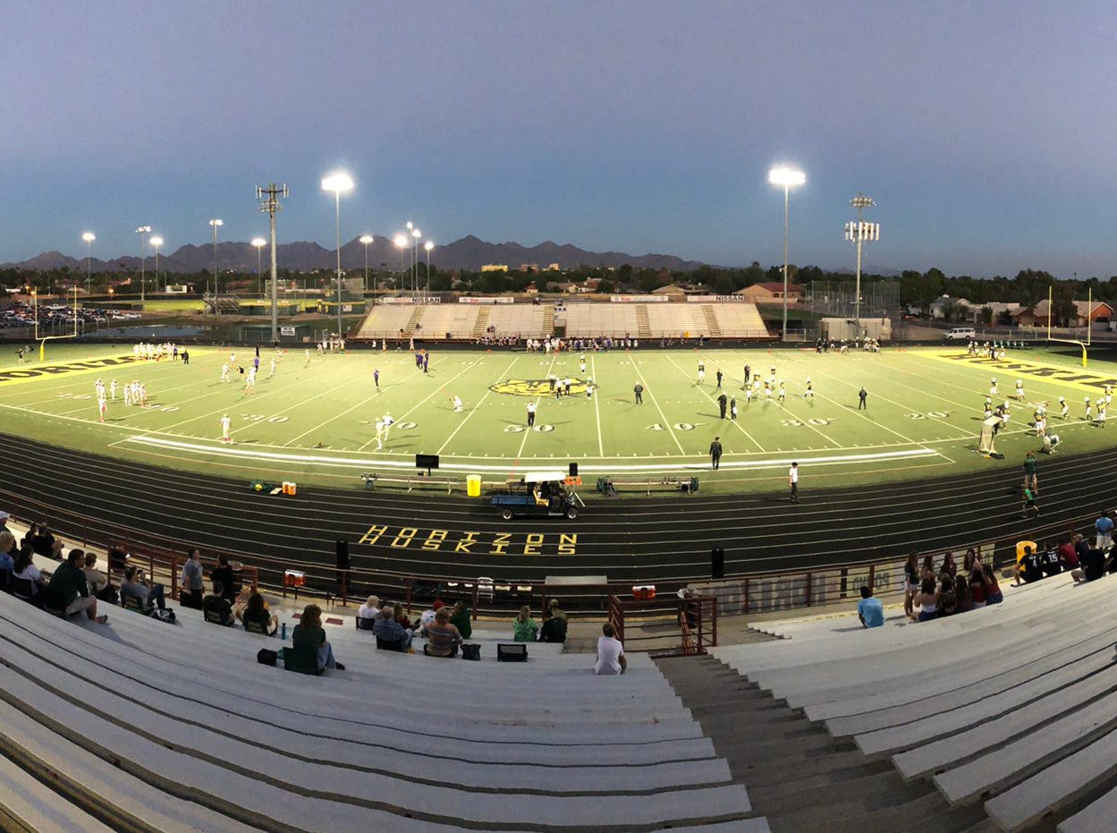A view of the Scottsdale Horizon football stadium as the Huskies prepare for Scottsdale Notre Dame Prep on Friday, Oct. 5, 2018.