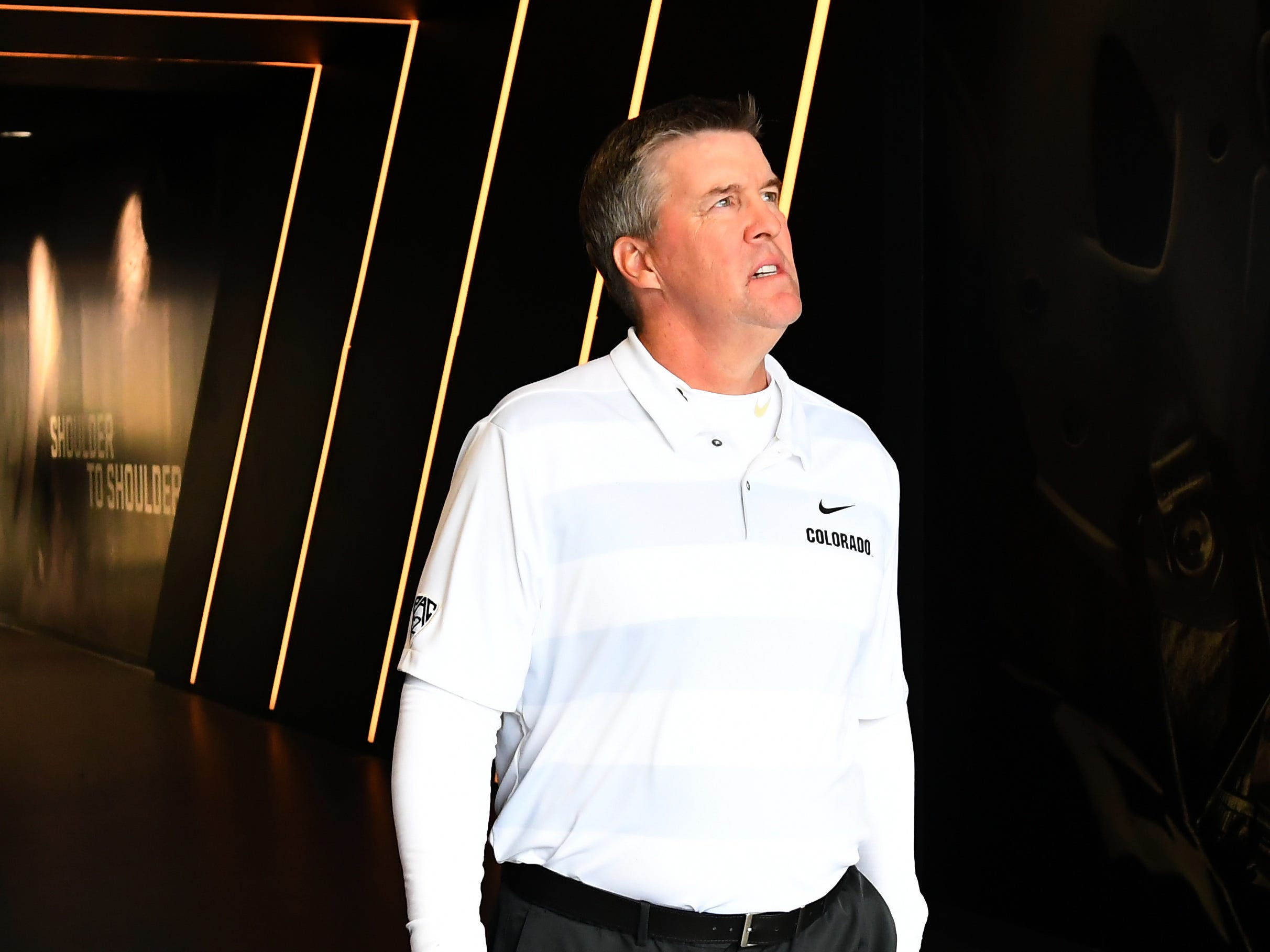 Oct 6, 2018; Boulder, CO, USA; Colorado Buffaloes head coach Mike MacIntyre before the game against the Arizona State Sun Devils at Folsom Field. Mandatory Credit: Ron Chenoy-USA TODAY Sports