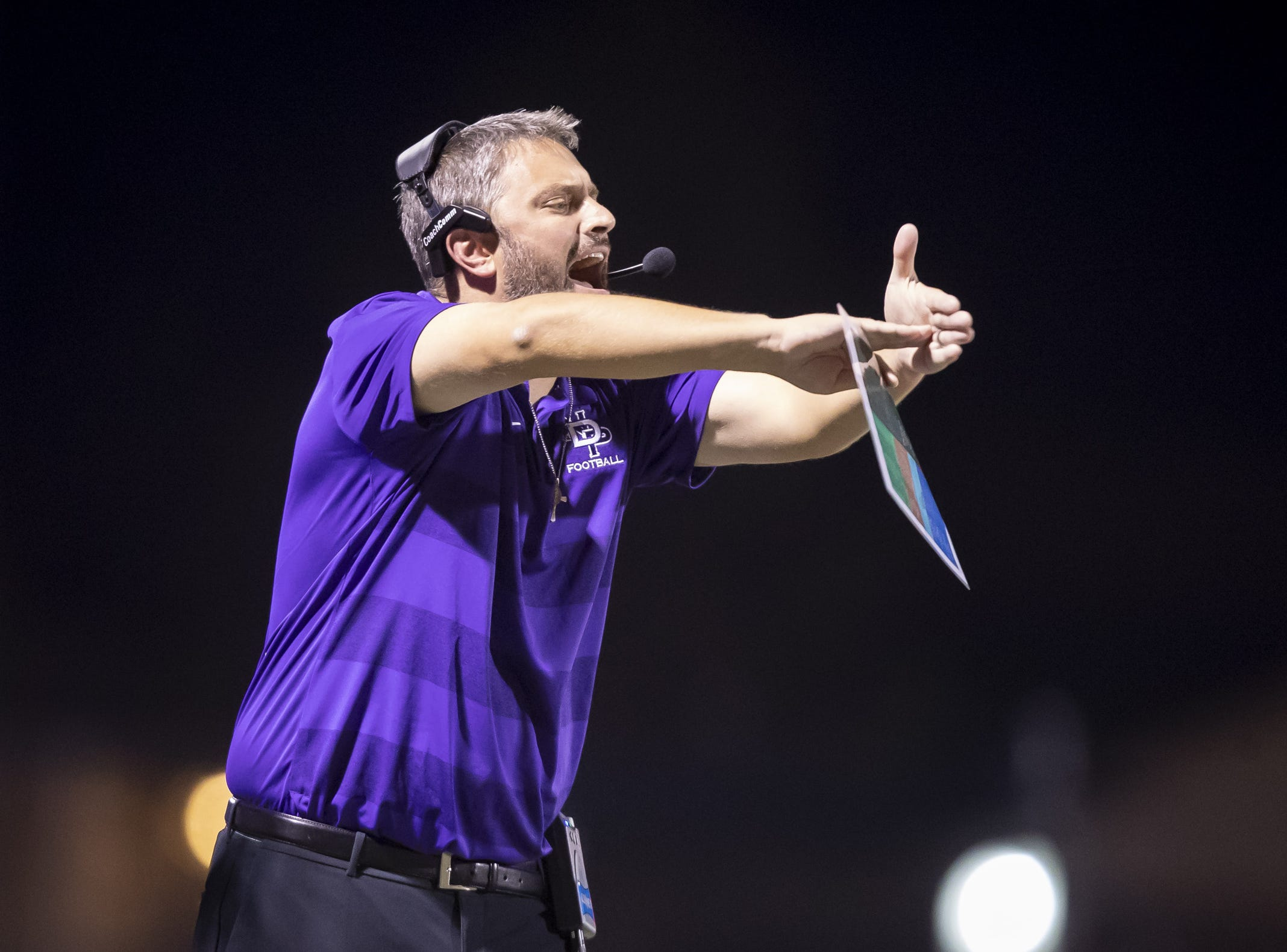 Head coach George Prelock of the Notre Dame Prep Saints calls a time-out during the game against the Horizon Huskies at Horizon High School on Friday, October 5, 2018 in Scottsdale, Arizona. #azhsfb