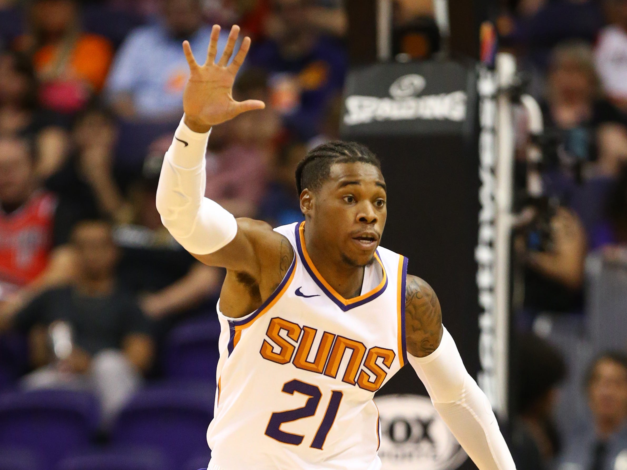 Phoenix Suns forward Richaun Holmes against the Portland Trail Blazers during a preseason game at Talking Stick Resort Arena on Oct. 5, 2018, in Phoenix, Ariz.