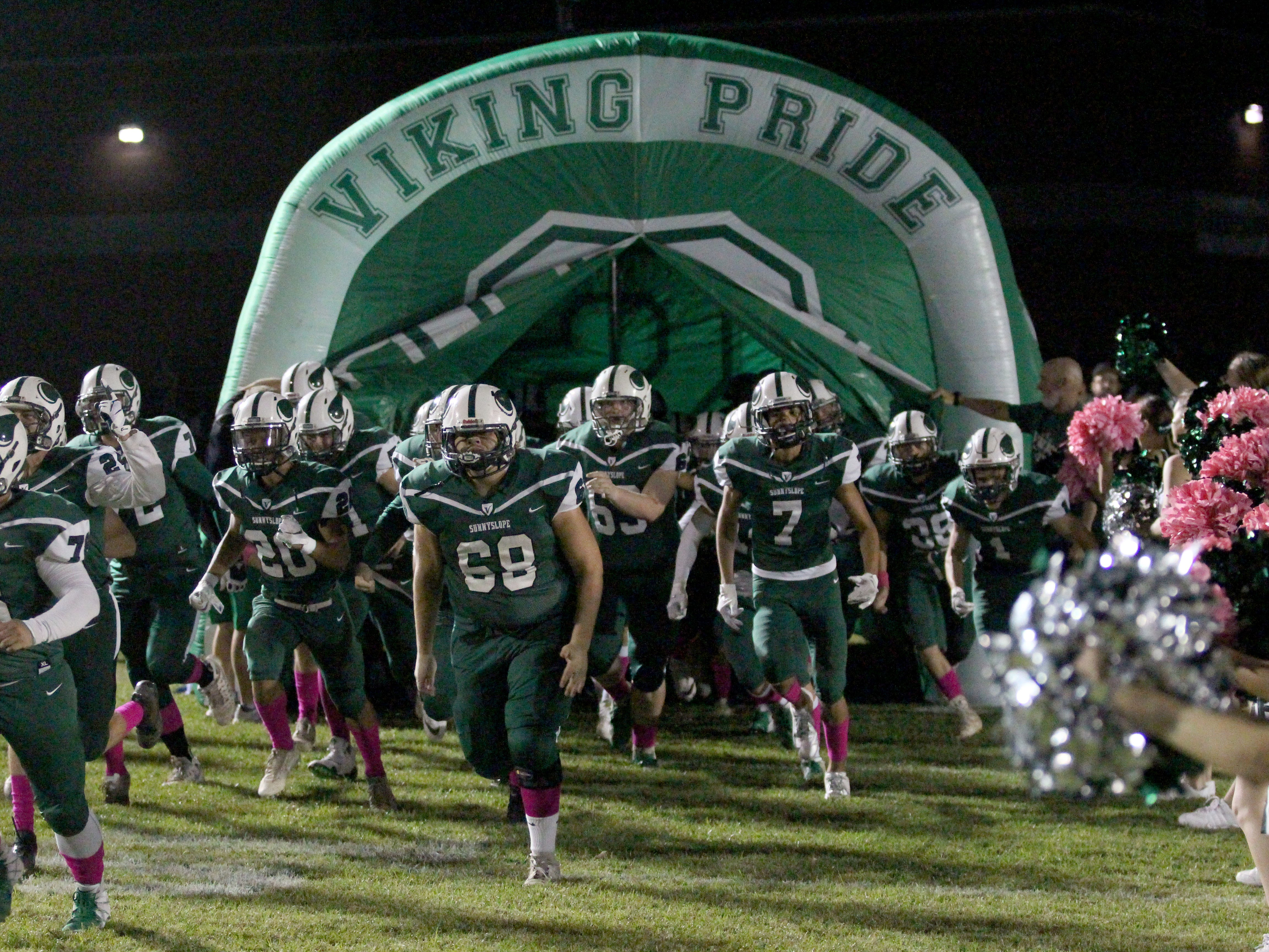 Sunnyslope takes the field before its game against Centennial on Friday night at Sunnyslope High School on Oct. 5, 2018