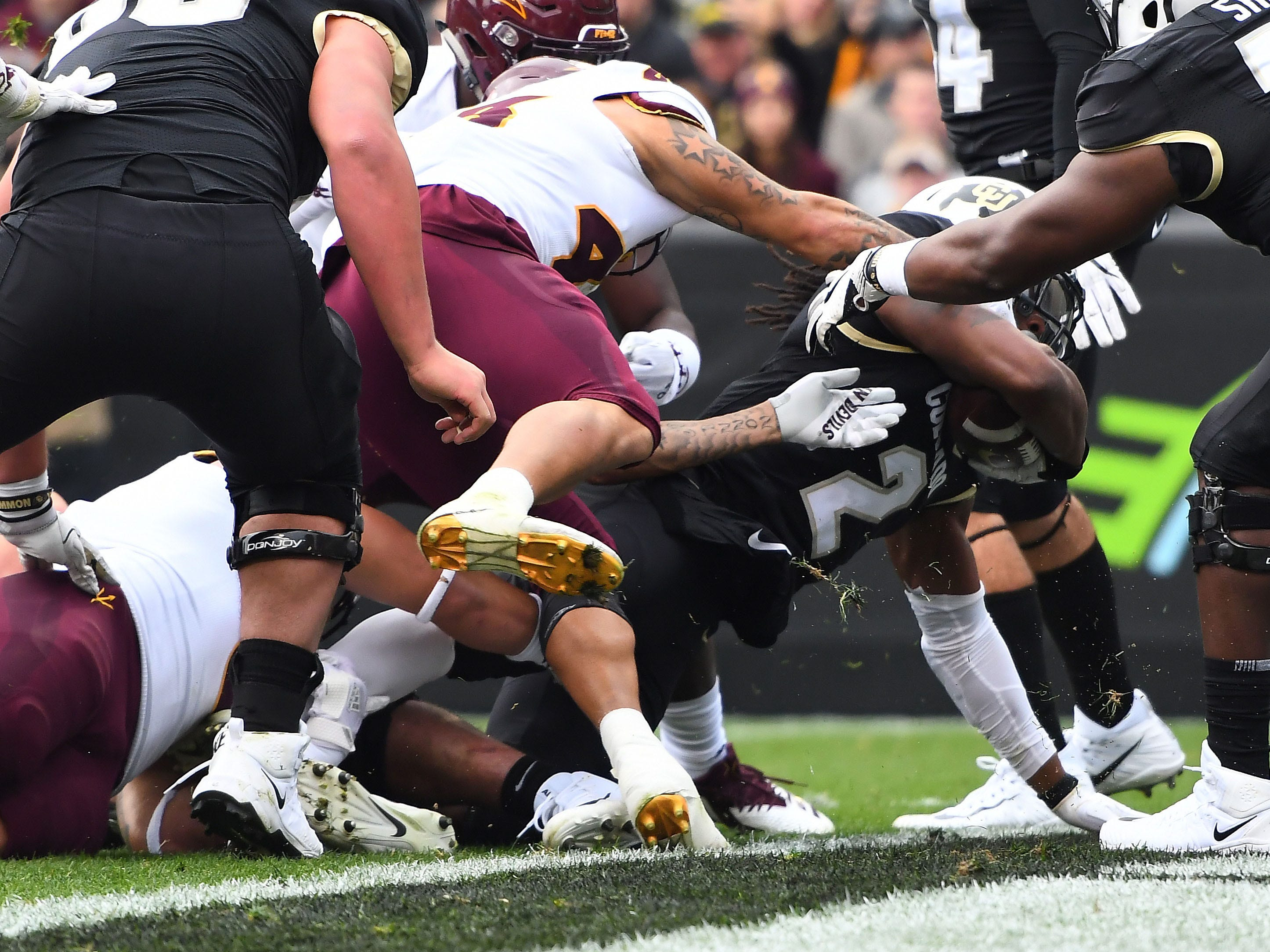Oct 6, 2018; Boulder, CO, USA; Colorado Buffaloes wide receiver Laviska Shenault Jr. (2) dives for a touchdown in the first quarter against the Arizona State Sun Devils at Folsom Field. Mandatory Credit: Ron Chenoy-USA TODAY Sports