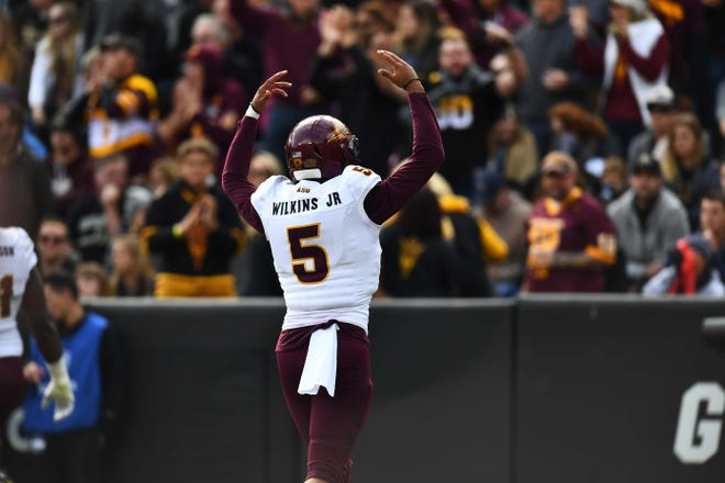 Oct 6, 2018; Boulder, CO, USA; Arizona State Sun Devils quarterback Manny Wilkins (5) celebrates a score in the second quarter against the Colorado Buffaloes at Folsom Field. Mandatory Credit: Ron Chenoy-USA TODAY Sports