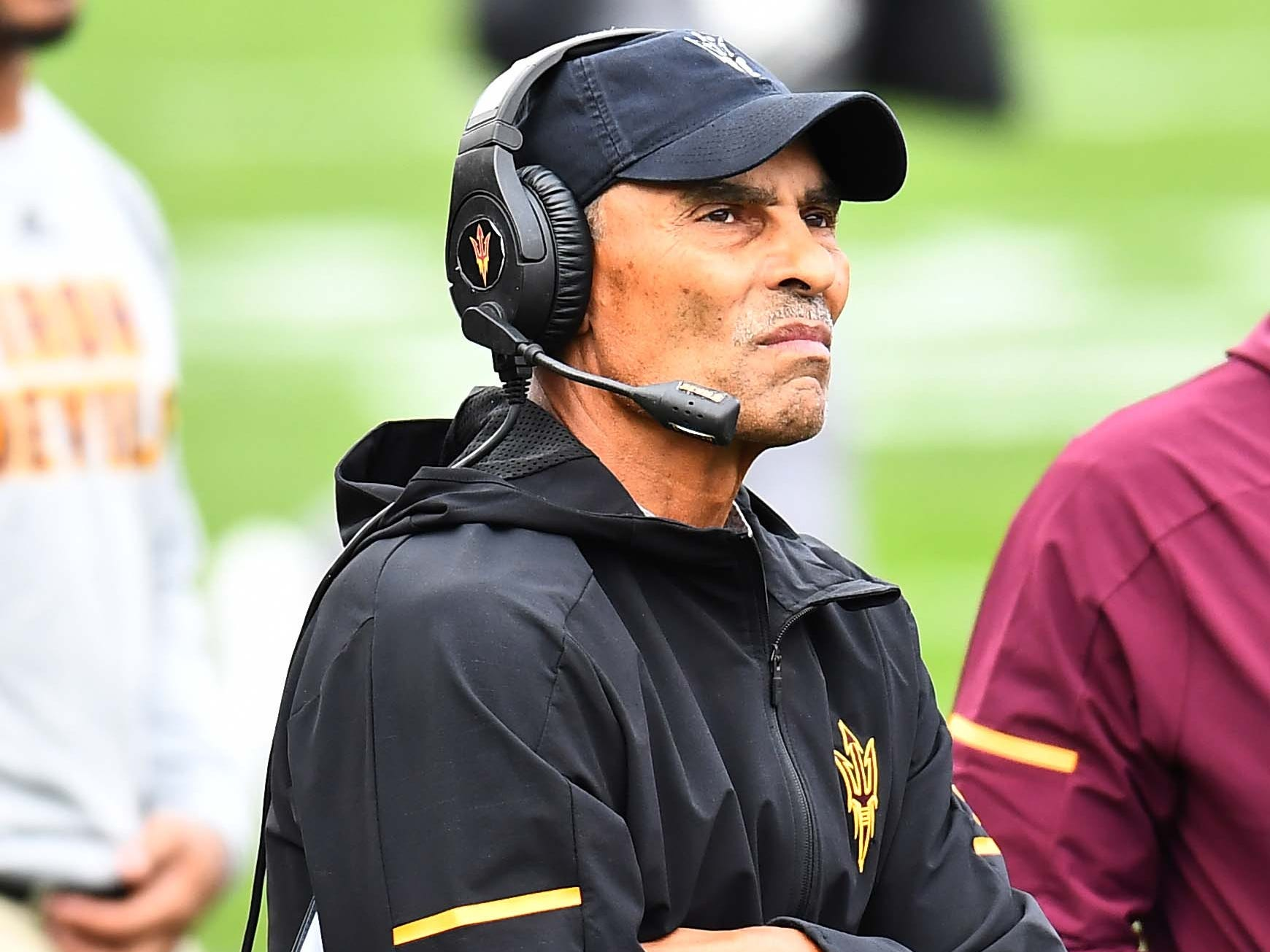 Oct 6, 2018; Boulder, CO, USA; Arizona State Sun Devils head coach Herm Edwards during second quarter against the Colorado Buffaloes at Folsom Field. Mandatory Credit: Ron Chenoy-USA TODAY Sports