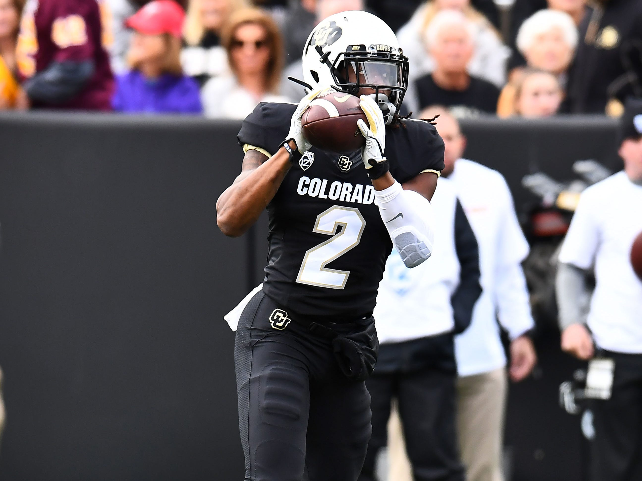 Oct 6, 2018; Boulder, CO, USA; Colorado Buffaloes wide receiver Laviska Shenault Jr. (2) pulls in a pass in the first quarter against the Arizona State Sun Devils at Folsom Field. Mandatory Credit: Ron Chenoy-USA TODAY Sports