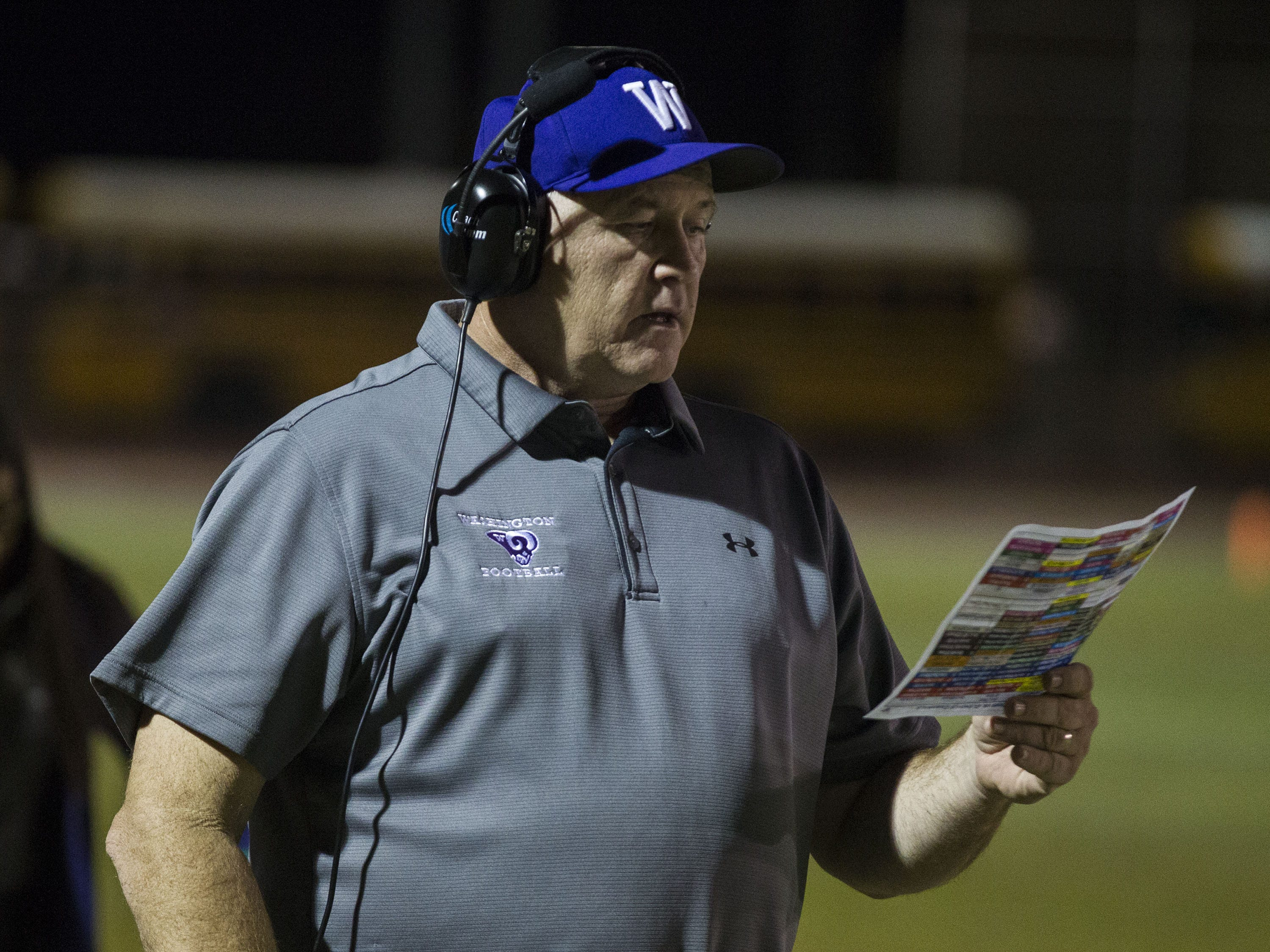Washington coach Tim MayfieldÊlooks over the play sheet during their game with Glendale in Glendale Friday, Oct. 5, 2018. #azhsfb