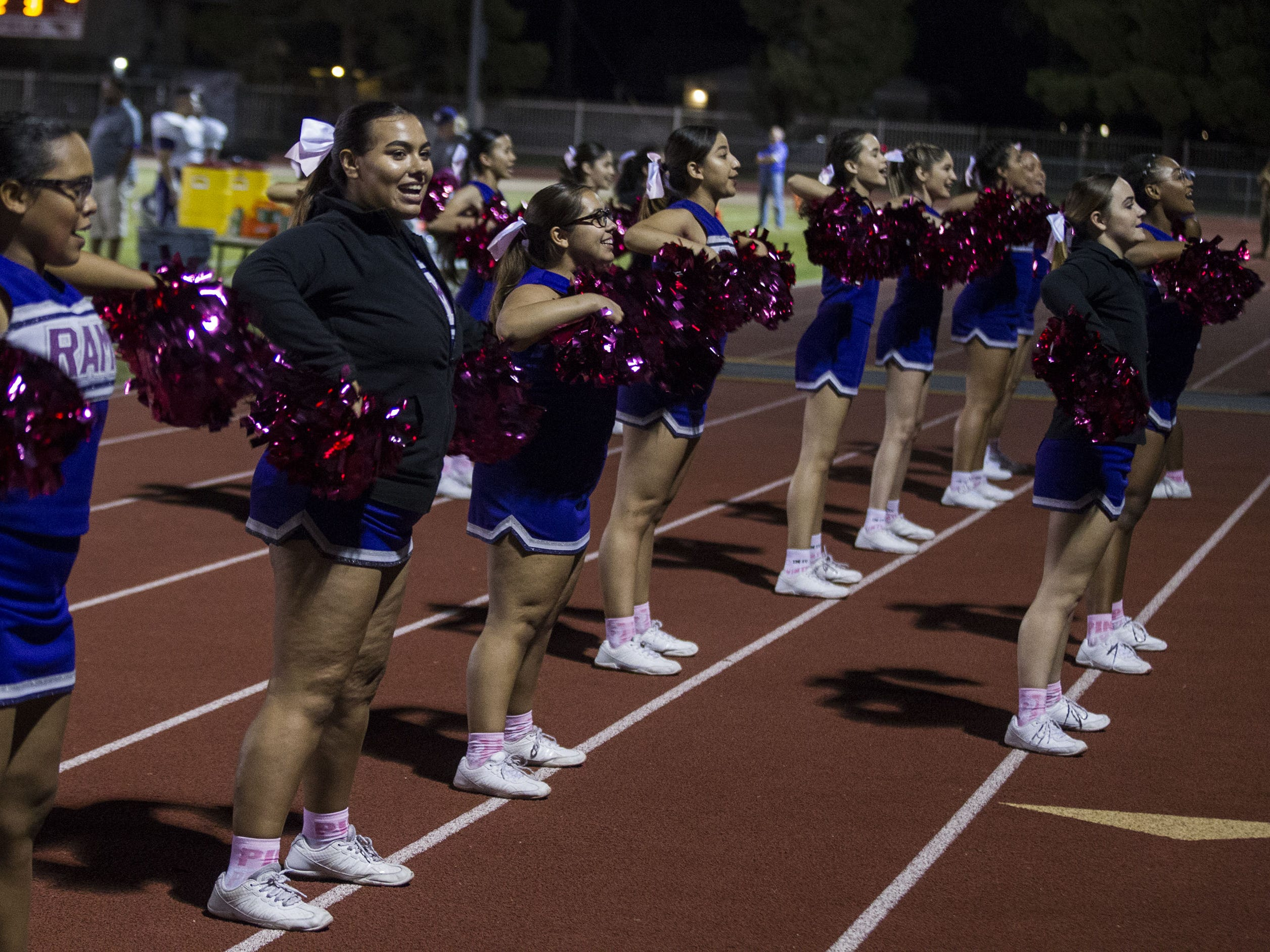 Washington's cheerleaders do their thing during their game in Glendale Friday, Oct. 5, 2018. #azhsfb