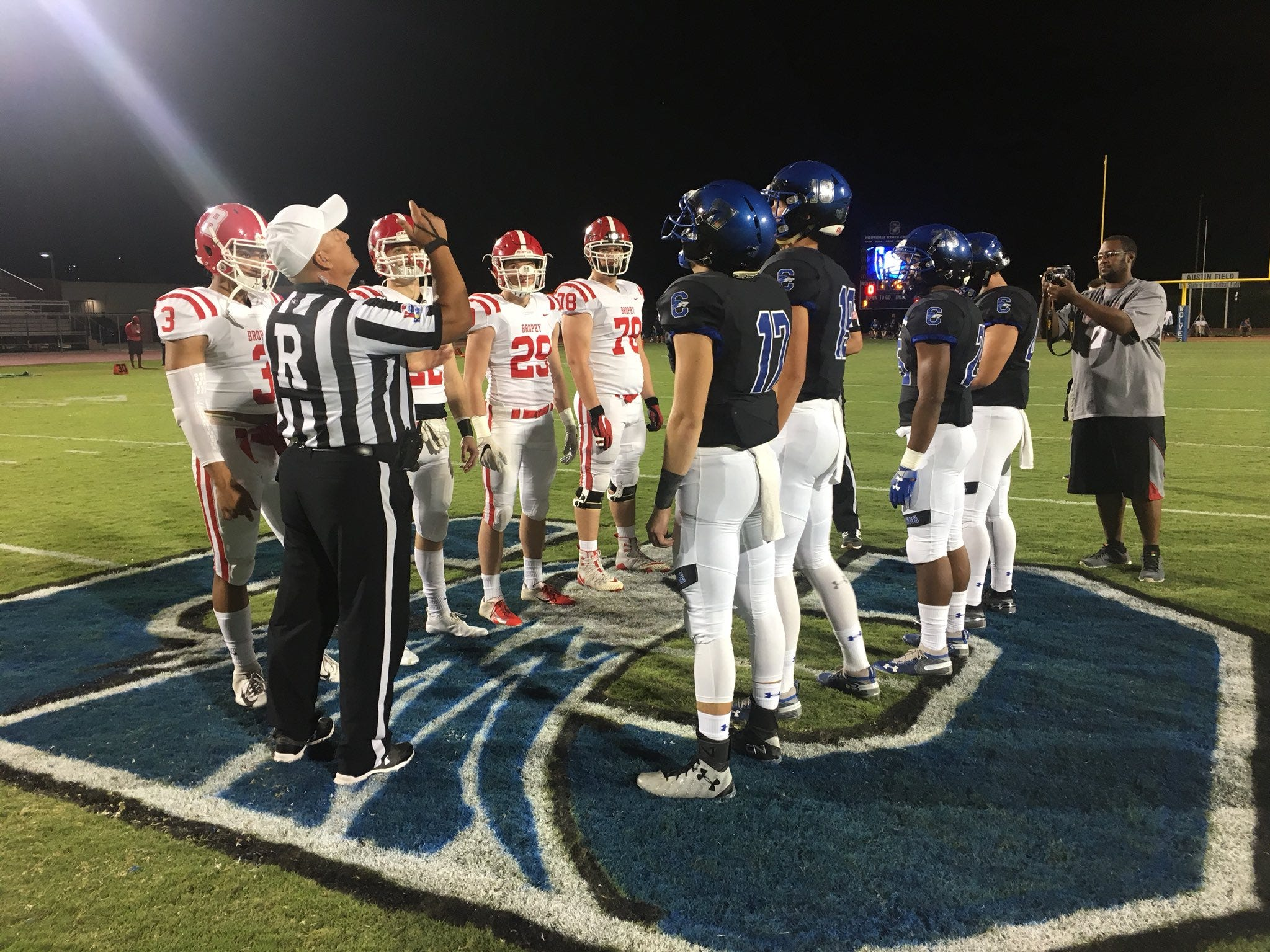 Chandler and Brophy at the coin toss prior to their 6A Premier region matchup on Friday, Oct. 5, 2018.