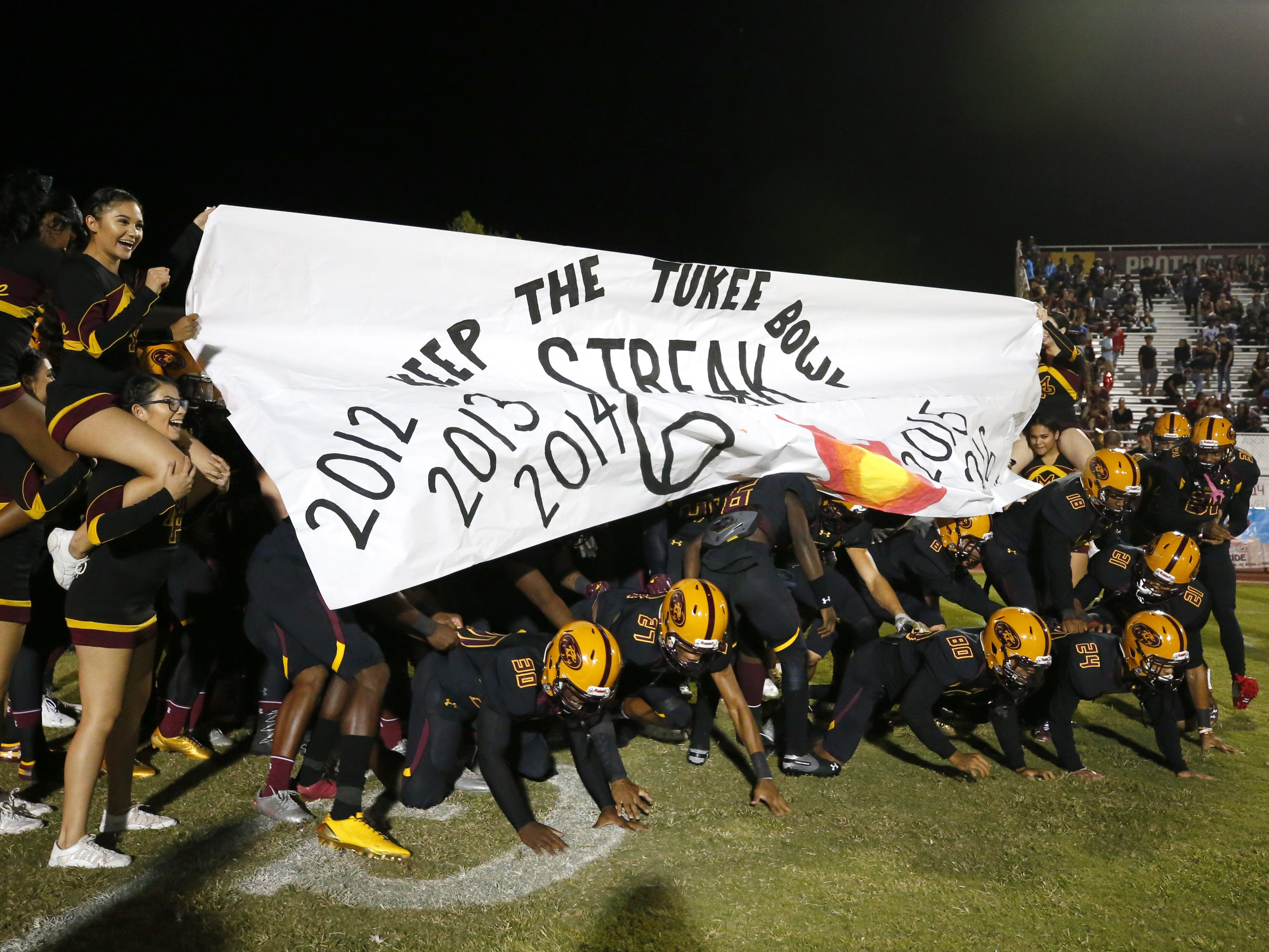 Mountain Pointe takes the field during a high school football game against Desert Vista at Mountain Pointe in Phoenix on October 5, 2018. #azhsfb