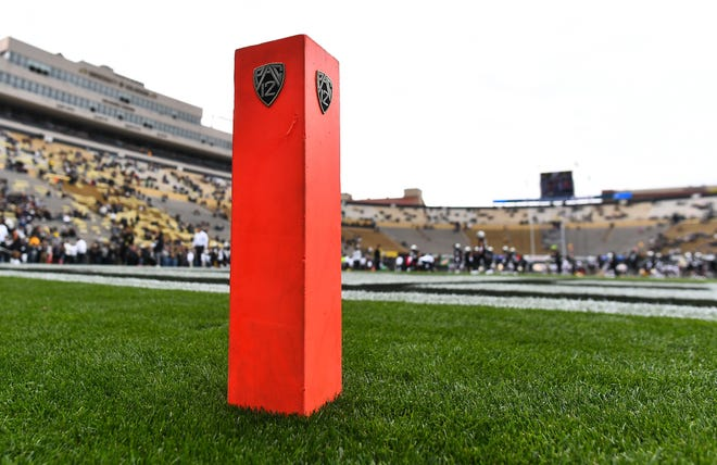 Oct 6, 2018; Boulder, CO, USA; General view of a PAC 12 end zone goalpost marker on the field of Folsom Field before the game between the Arizona State Sun Devils against the Colorado Buffaloes. Mandatory Credit: Ron Chenoy-USA TODAY Sports