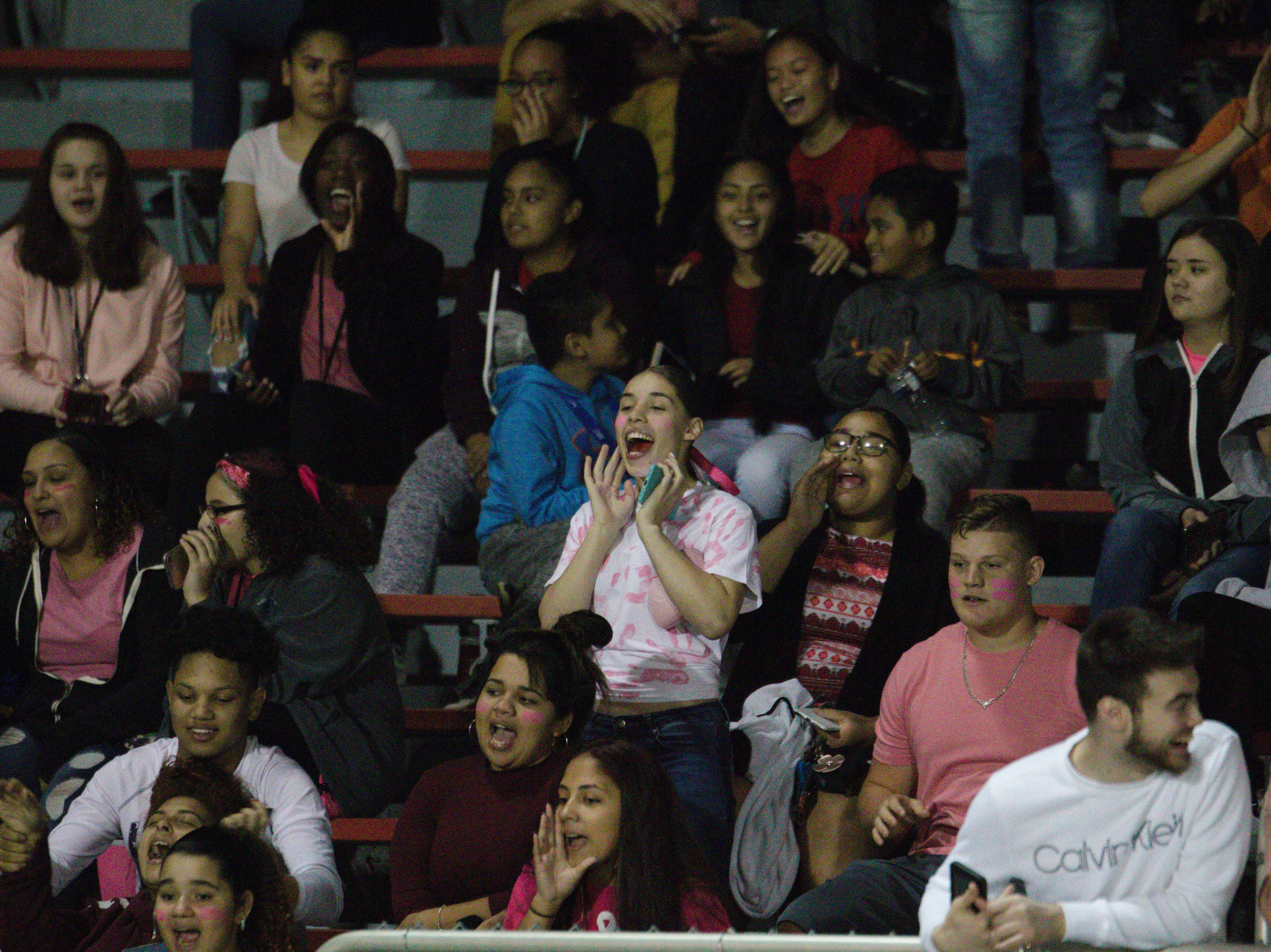 Lebanon fans cheer on their team during Friday night's win over Northern Lebanon.