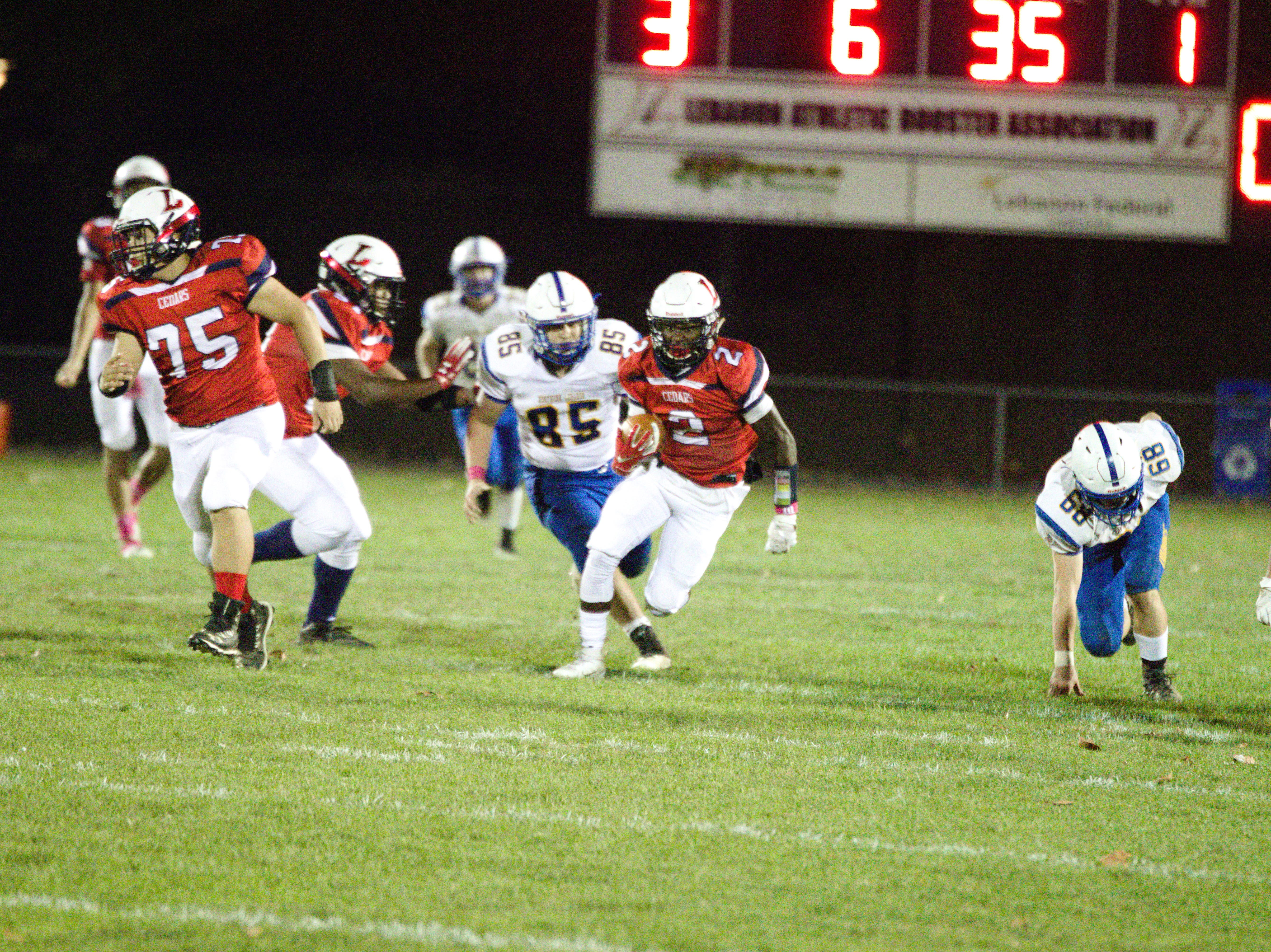 Lebanon's Jahlil YOung breaks free for a big gain.